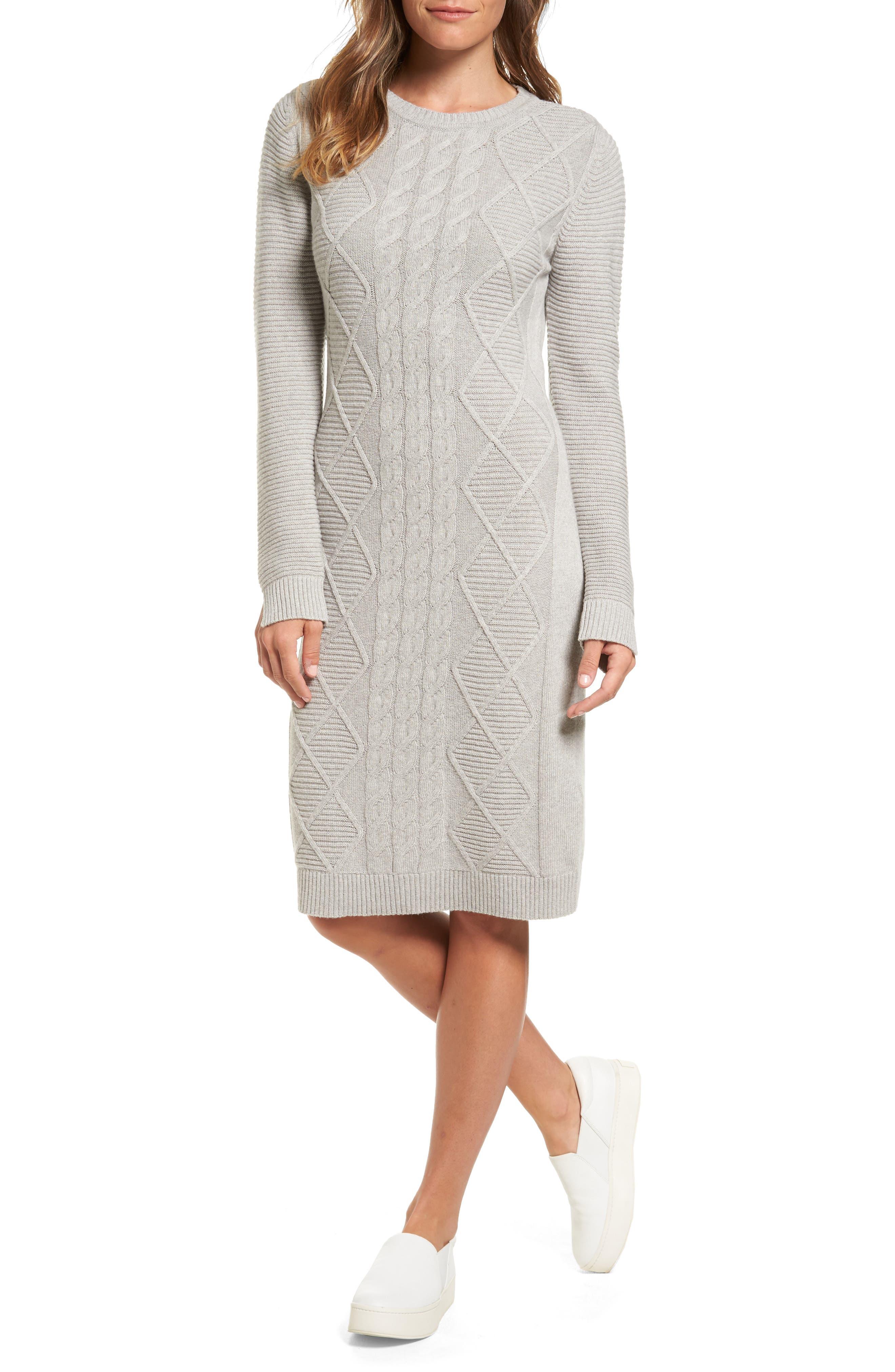 Emmanuel Cable Knit Sweater Dress,                         Main,                         color, Light Grey Marl