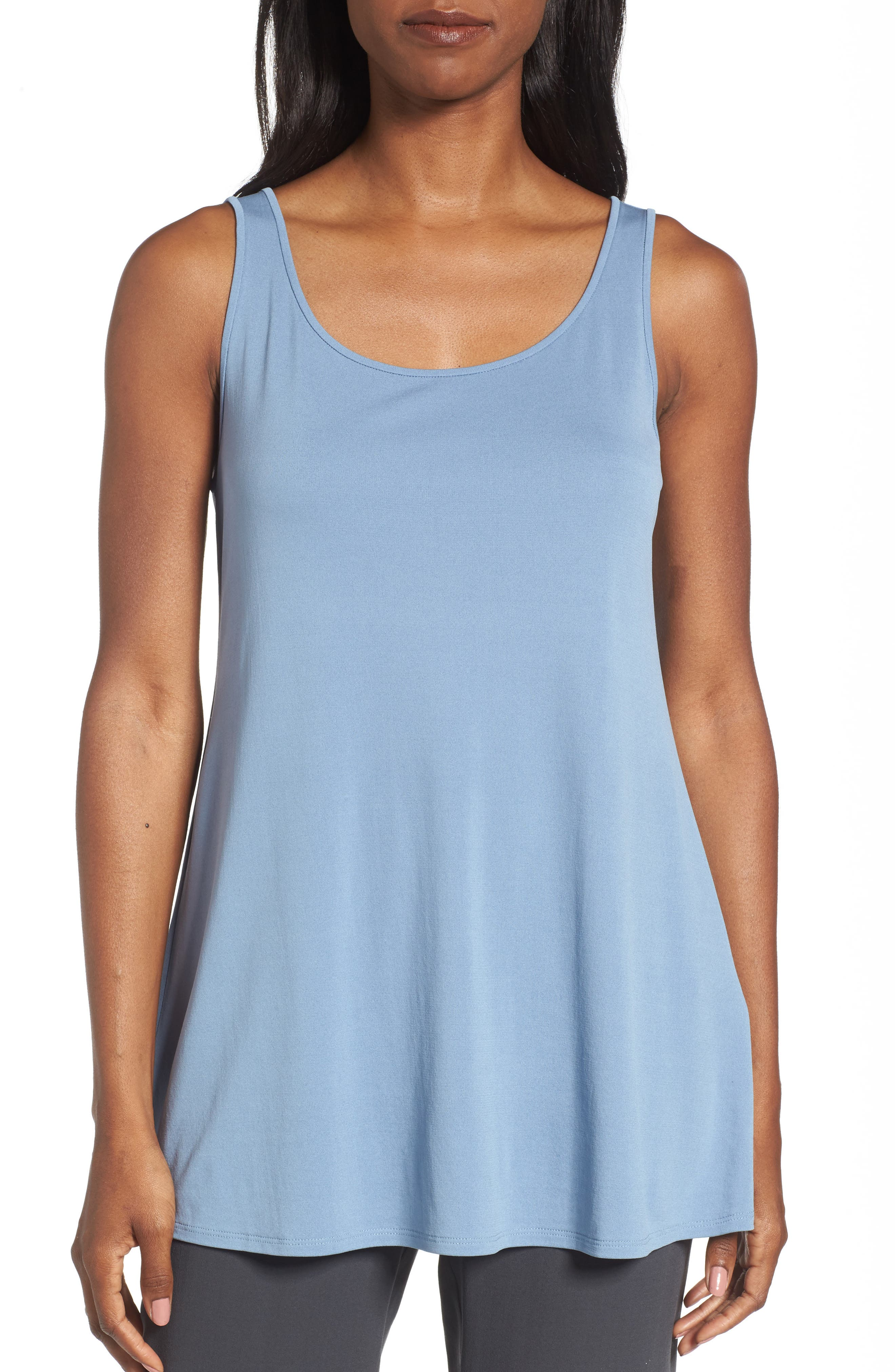 Main Image - Eileen Fisher Long Silk Tank (Regular & Petite)