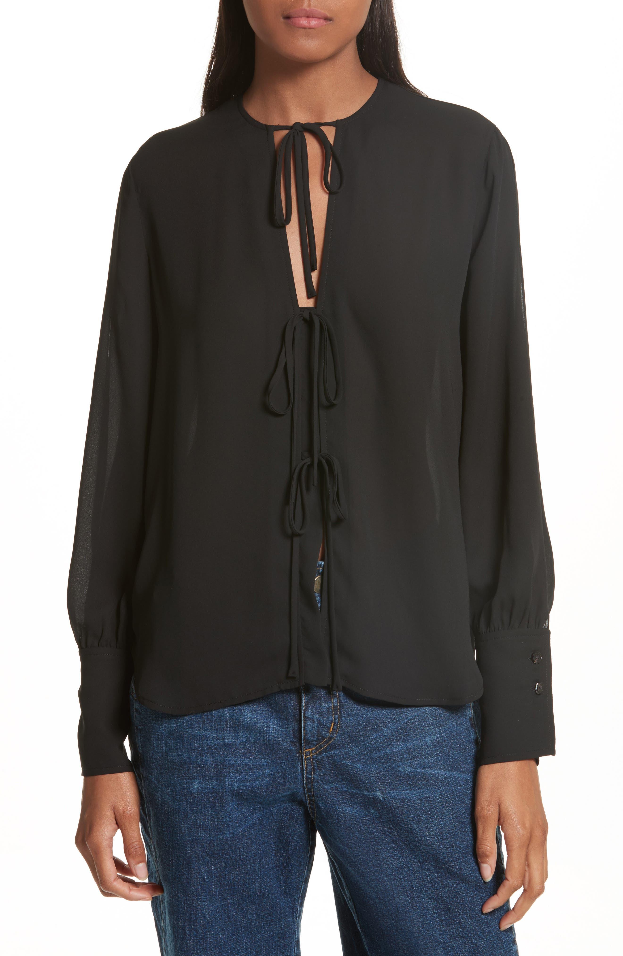 Meryl Tie Front Blouse,                         Main,                         color, Black