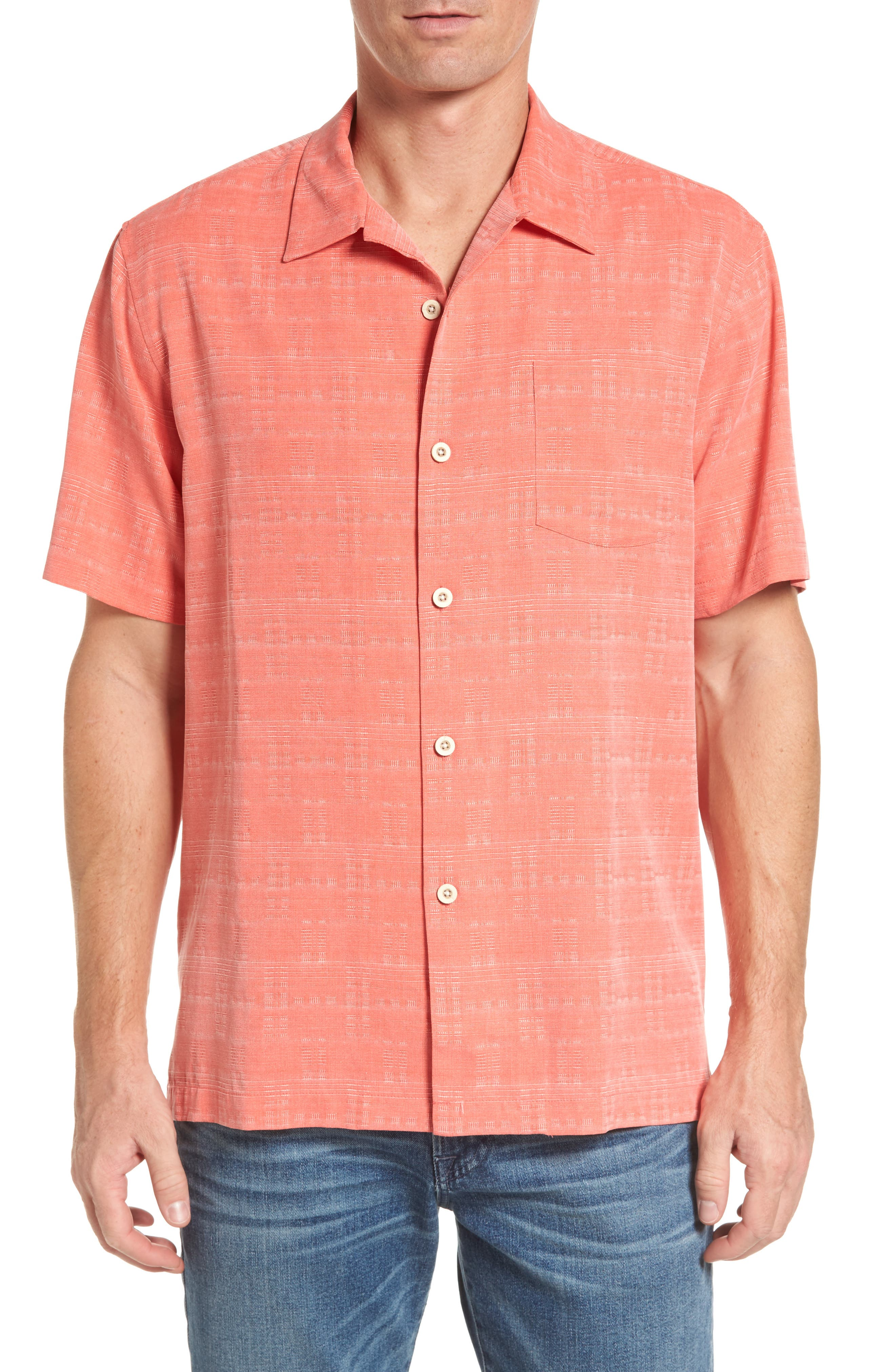 'Geo-Rific Jacquard' Original Fit Silk Camp Shirt,                         Main,                         color, Fusion