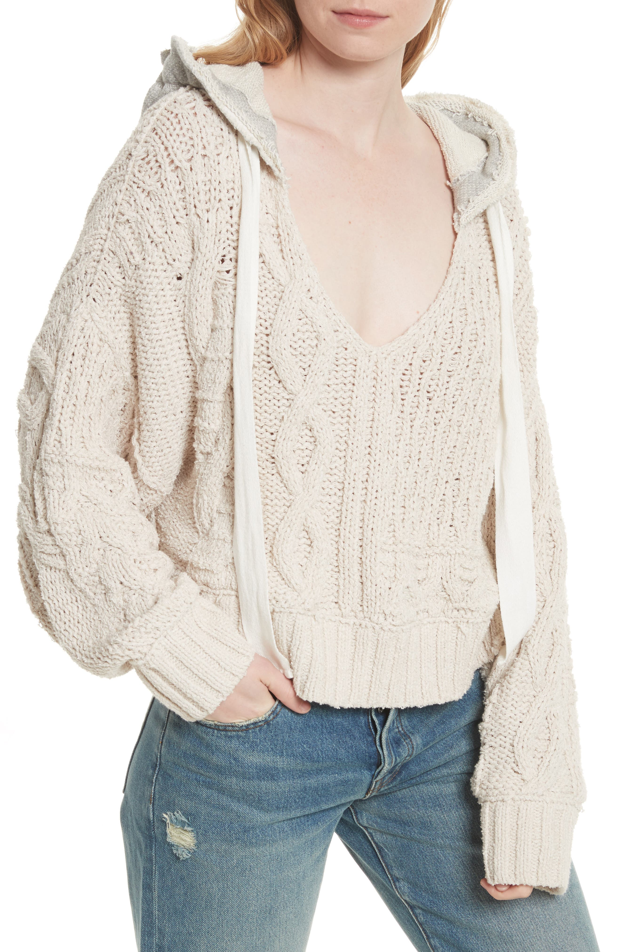 Tierra Cable Knit Hoodie,                         Main,                         color, Ivory