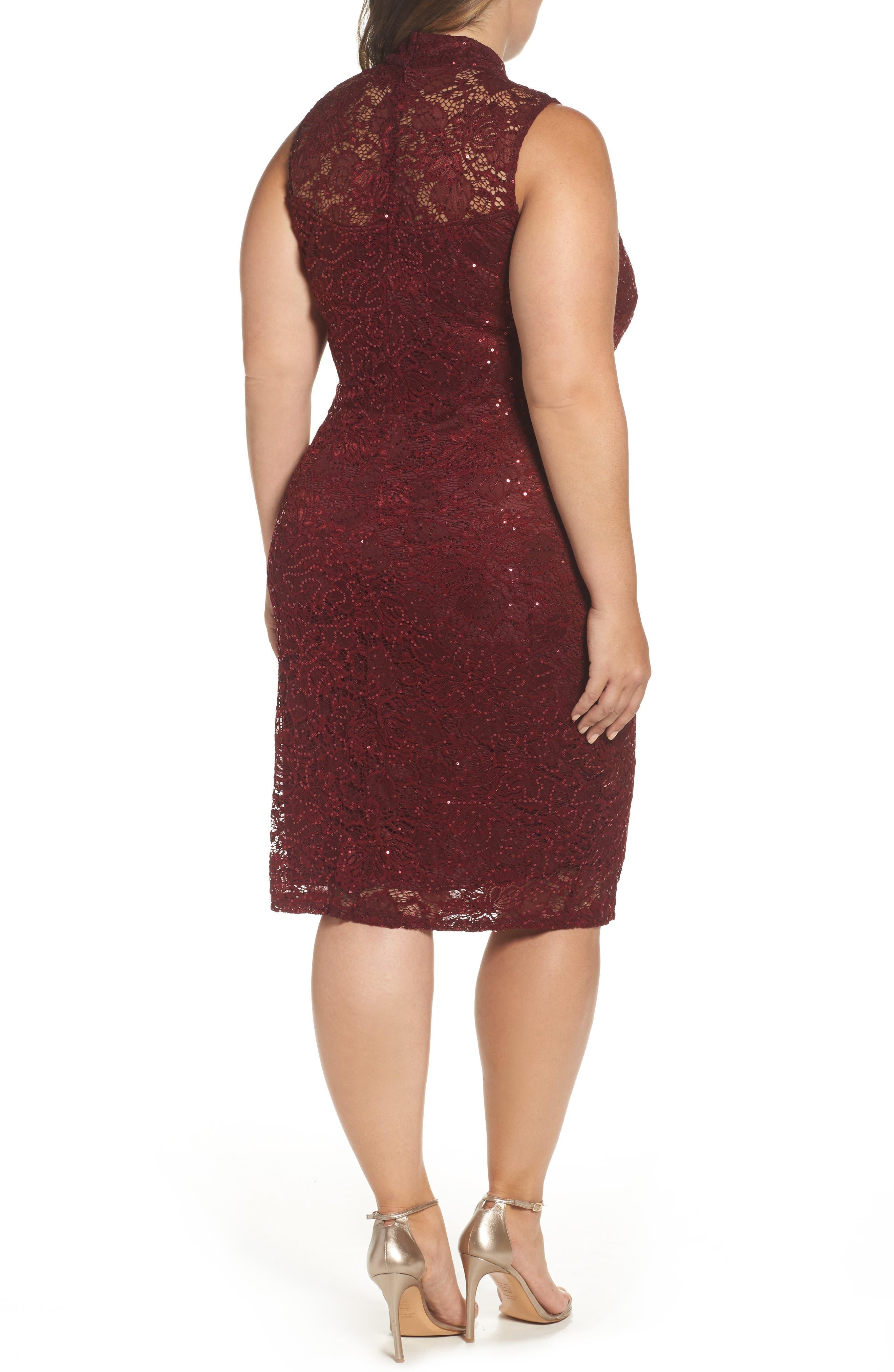 Sequin Lace Sheath Dress,                             Alternate thumbnail 2, color,                             Burgundy