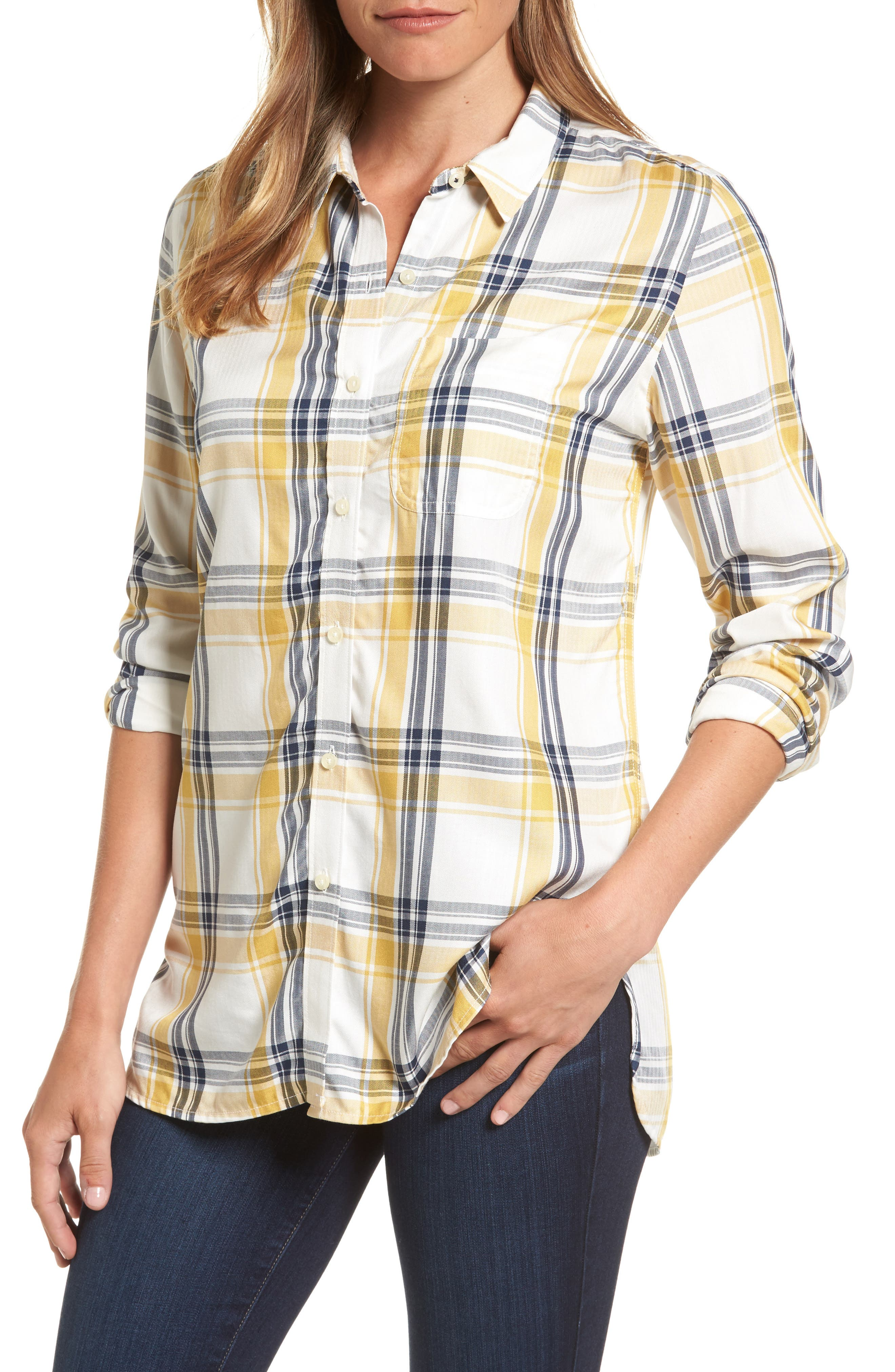 Newton Plaid Shirt,                             Main thumbnail 1, color,                             Sun Gold