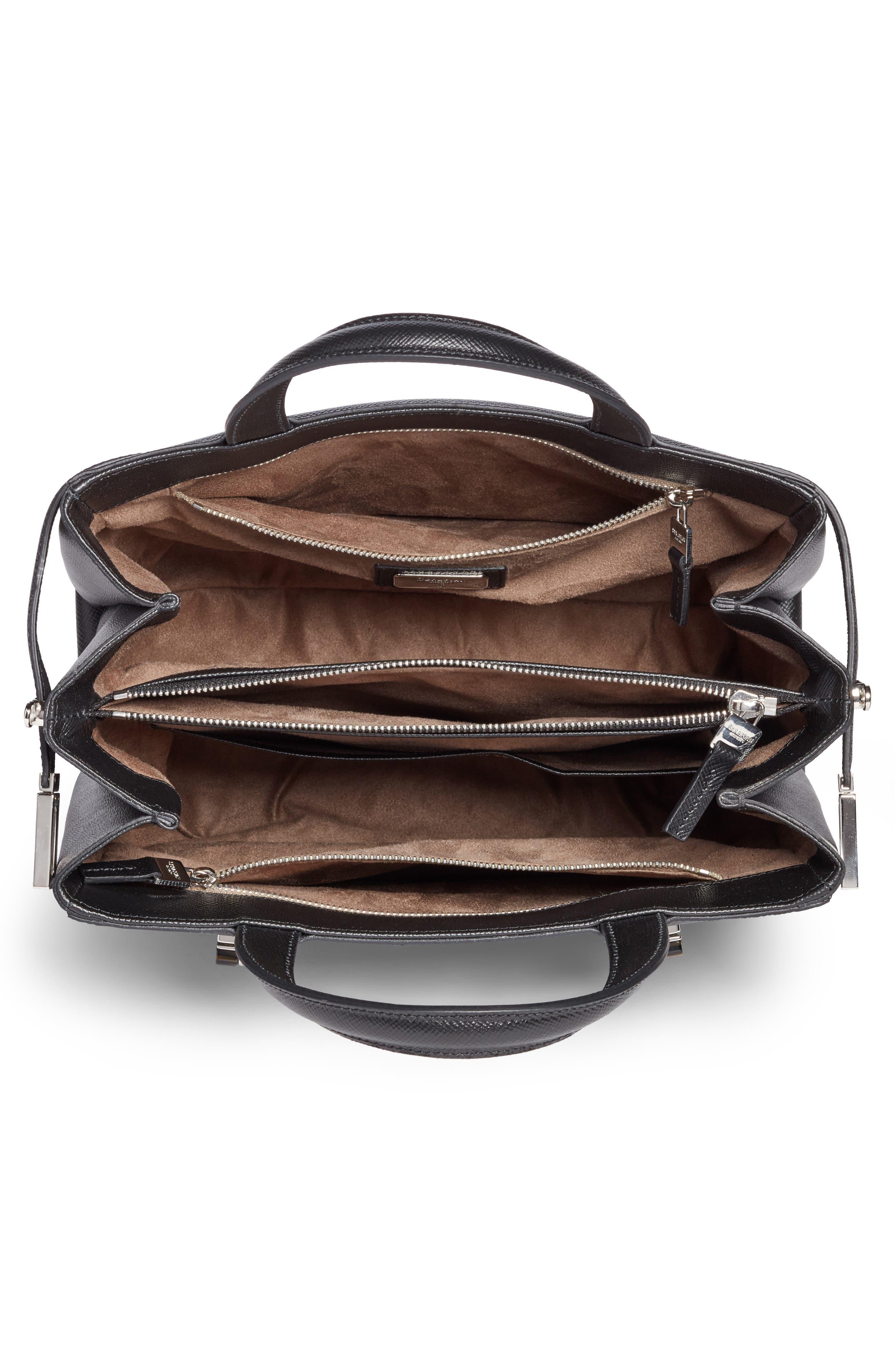 Small Meline Evolution Leather Bag,                             Alternate thumbnail 3, color,                             Black