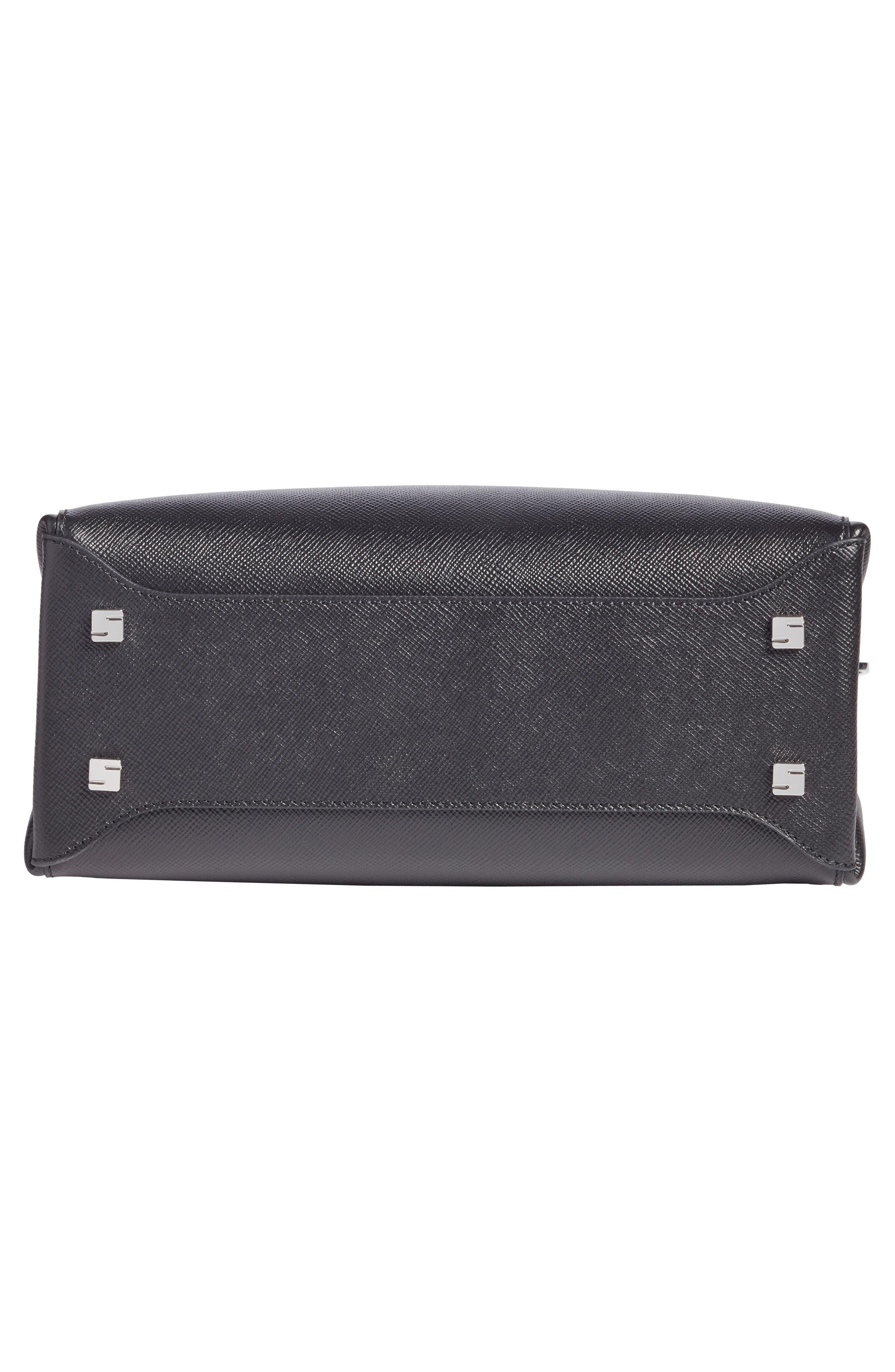 Small Meline Evolution Leather Bag,                             Alternate thumbnail 5, color,                             Black