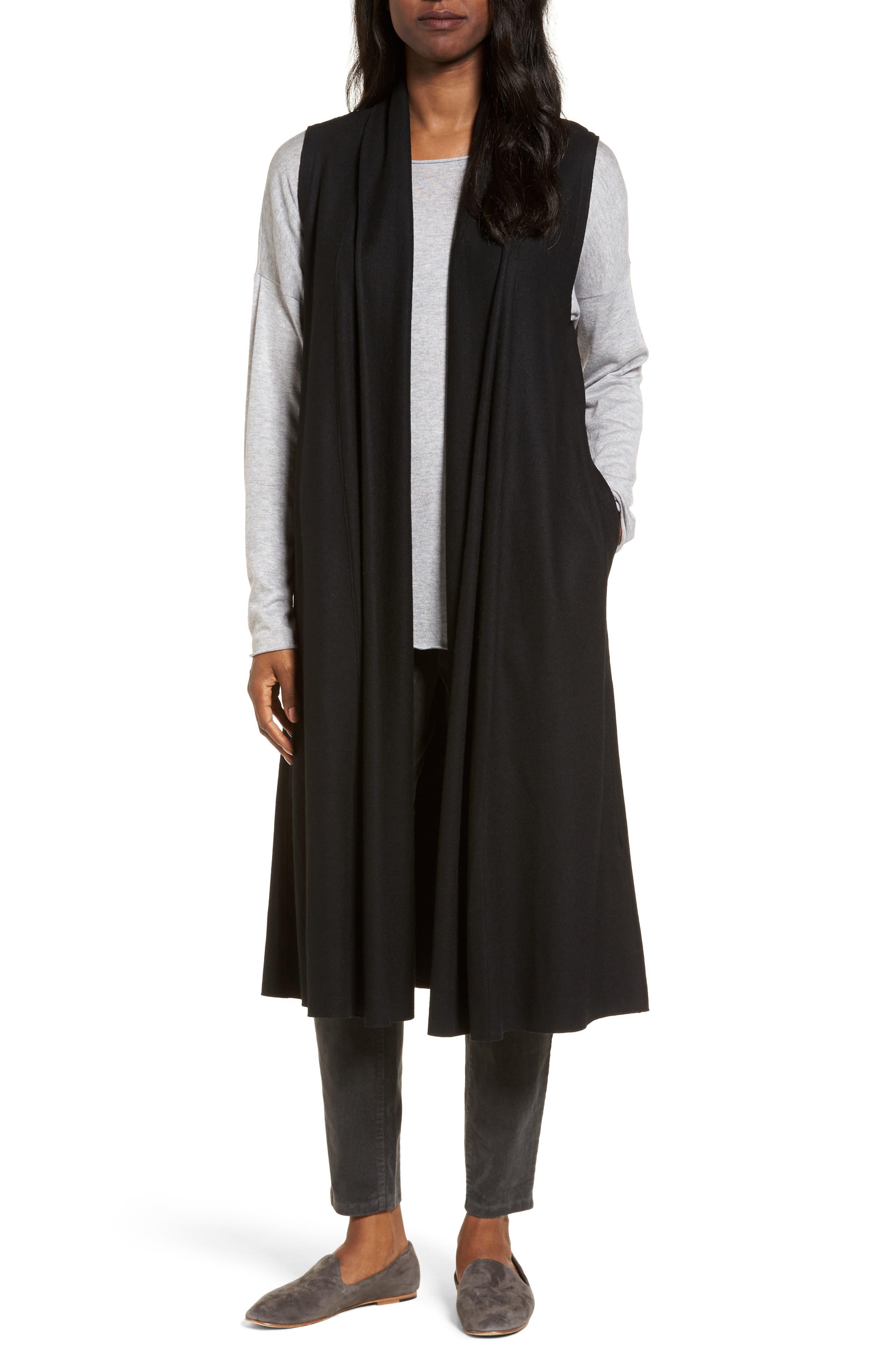 Eileen Fisher Long Boiled Wool Vest