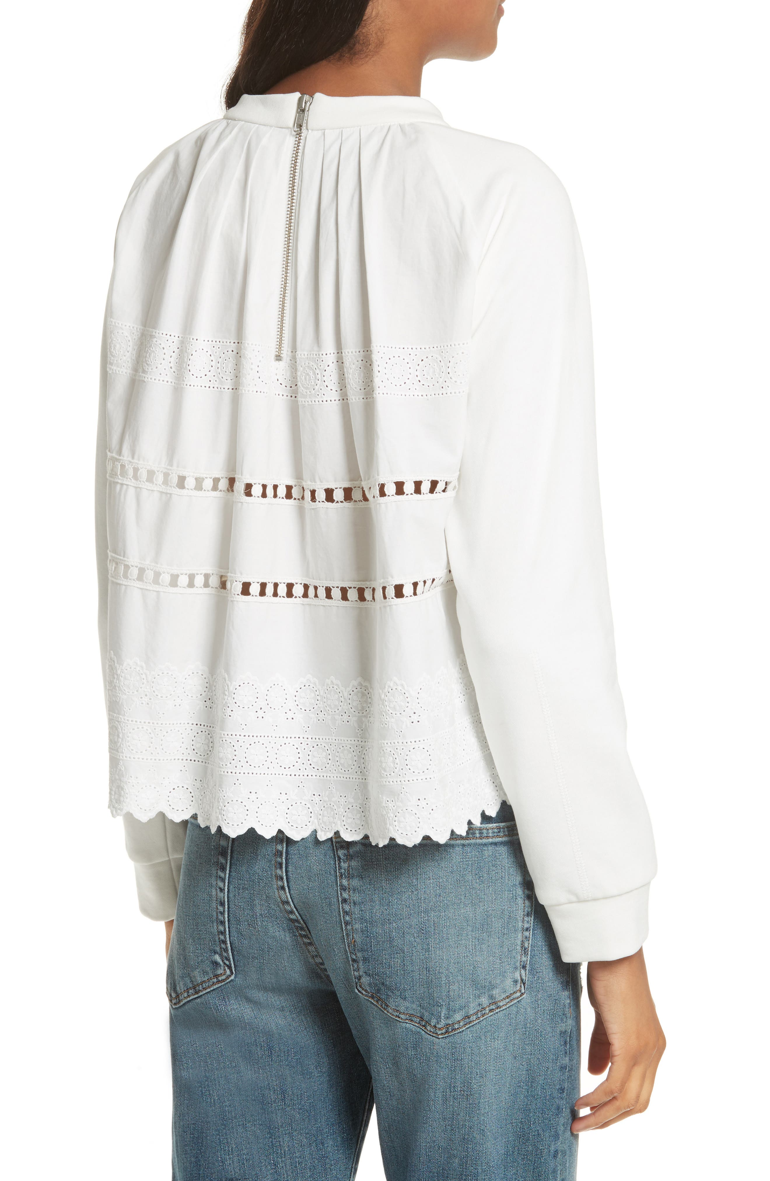Ruffle Crop Sweatshirt,                             Alternate thumbnail 2, color,                             Cream