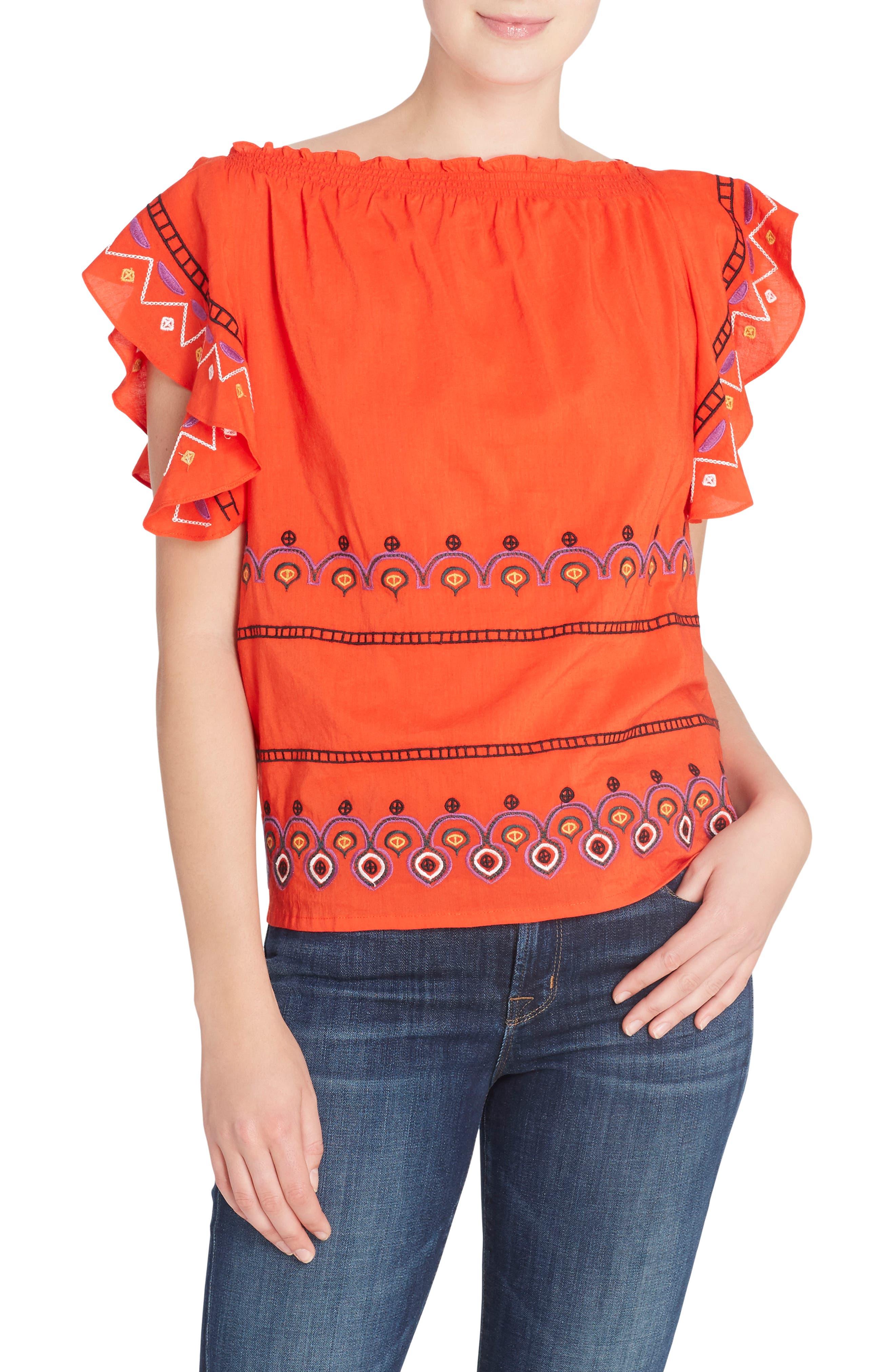 Barbara Embroidered Ruffle Sleeve Blouse,                         Main,                         color, Poinciana