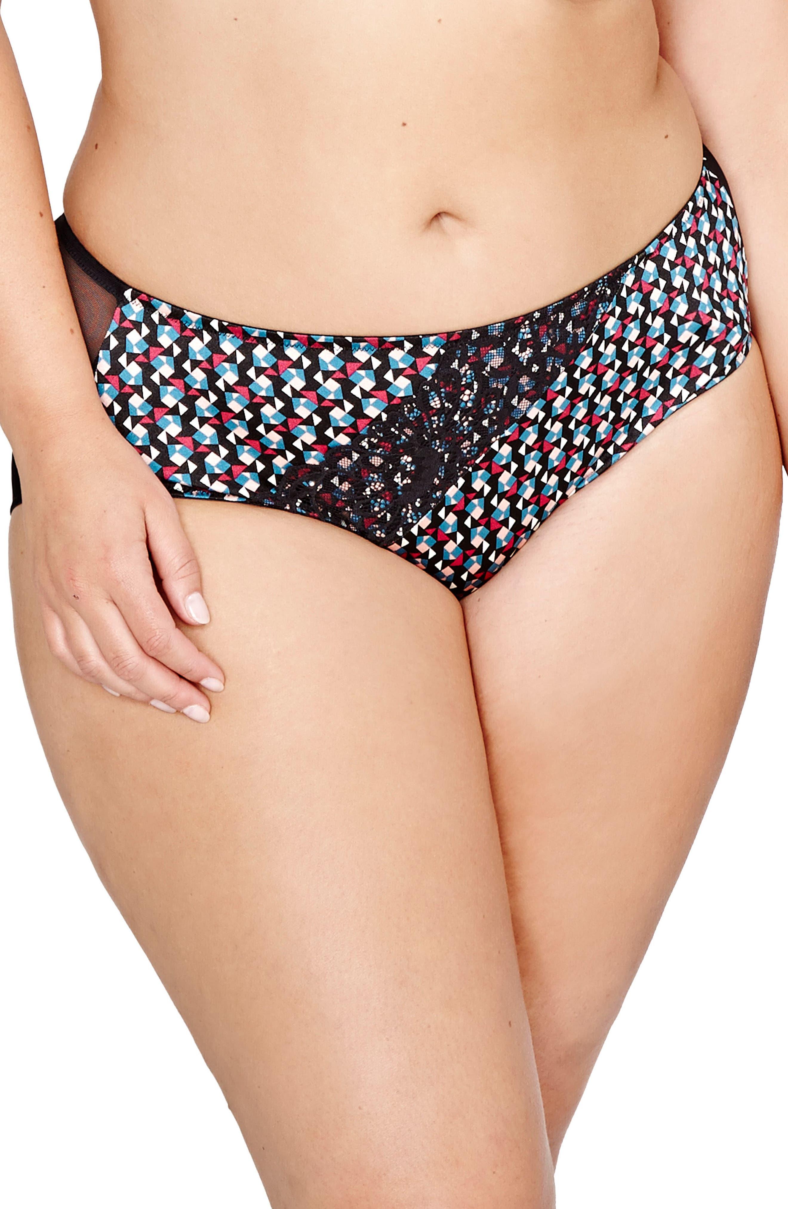 Déesse Lingerie Teddy Girl High Cut Panties,                         Main,                         color, Geo Aop