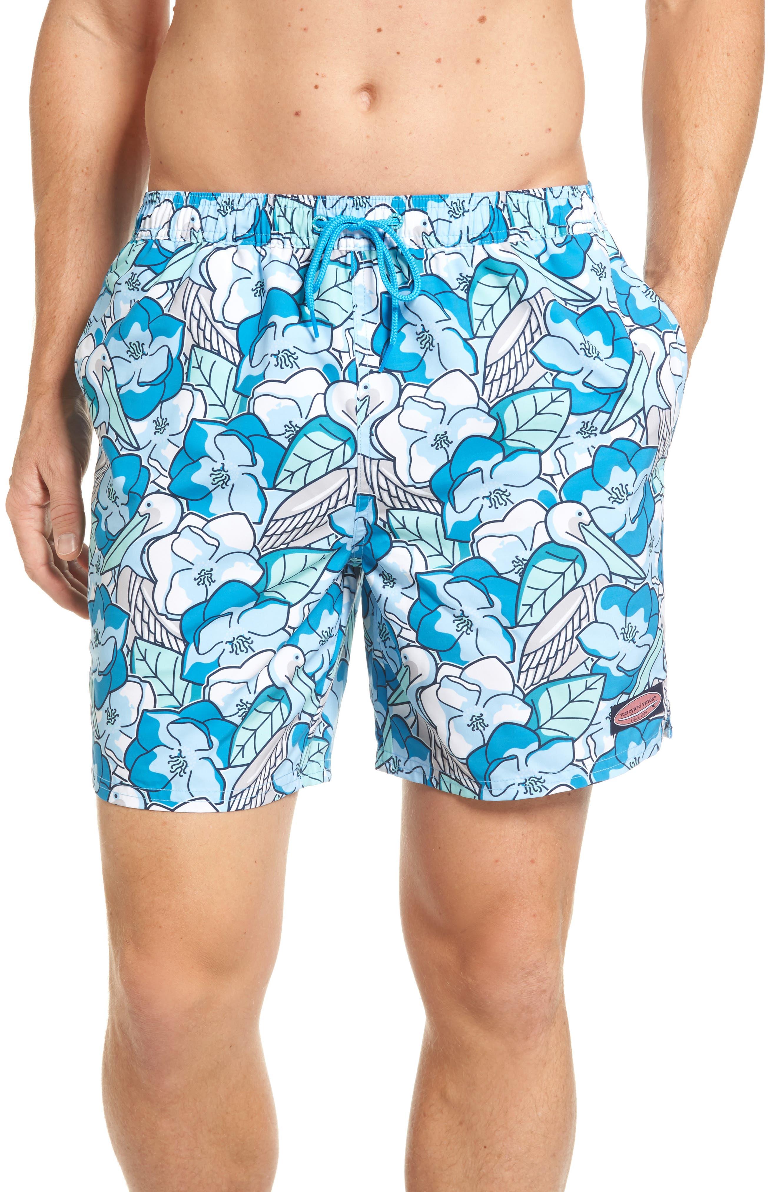 Pelican Magnolias Chappy Swim Trunks,                             Main thumbnail 1, color,                             Airy Blue