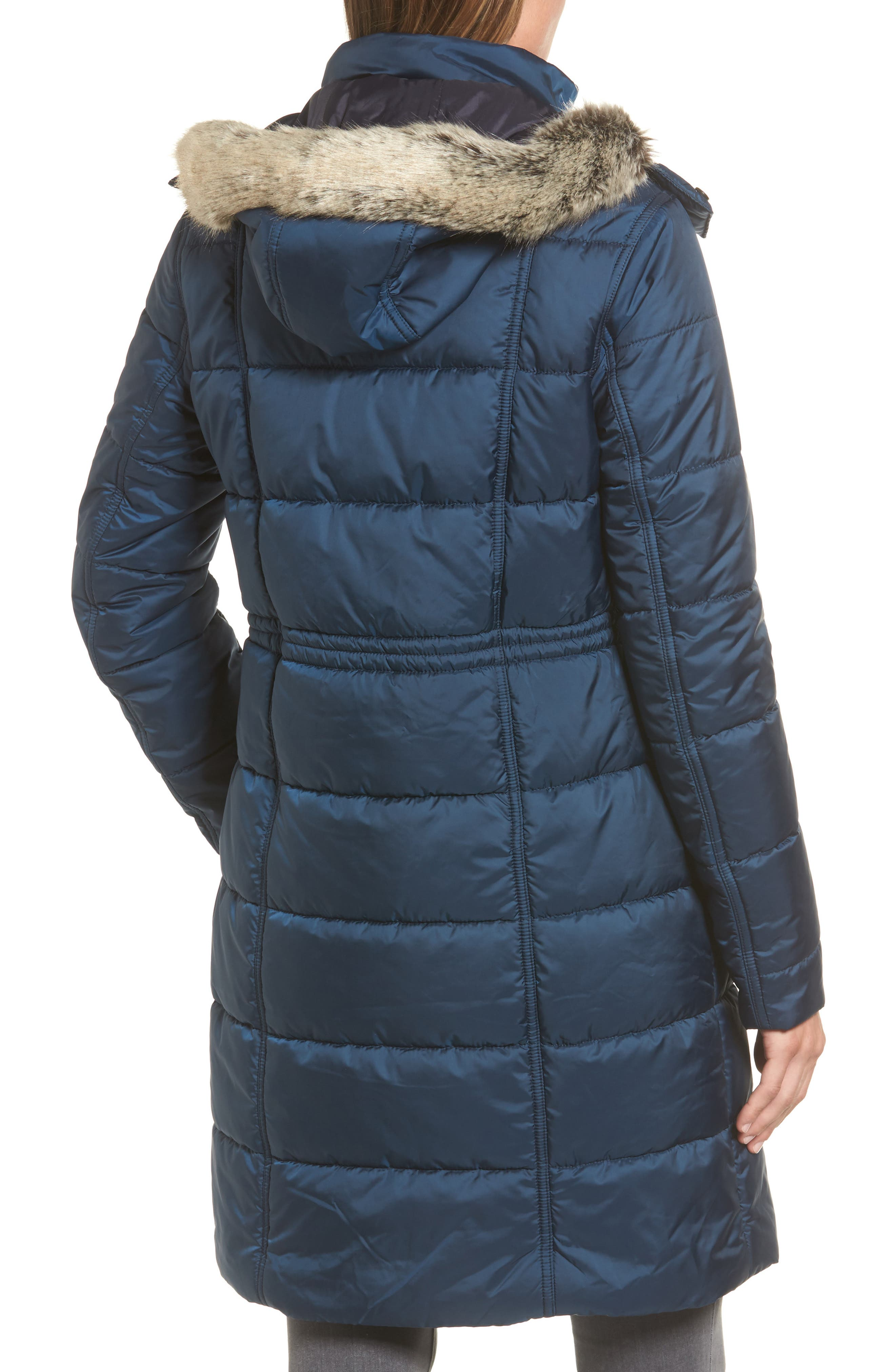 Winterton Water Resistant Hooded Quilted Jacket with Faux Fur Trim,                             Alternate thumbnail 2, color,                             French Navy