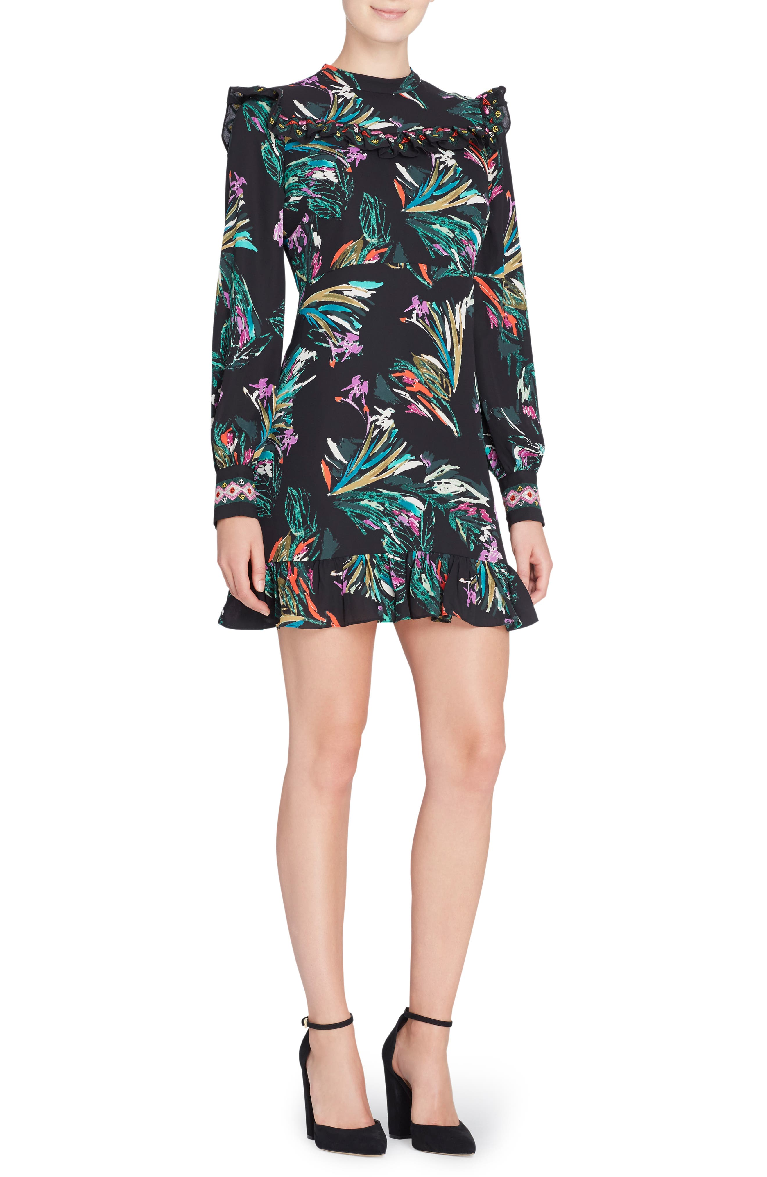 CATHERINE CATHERINE MALANDRINO Florence Embroidered Cuff Dress