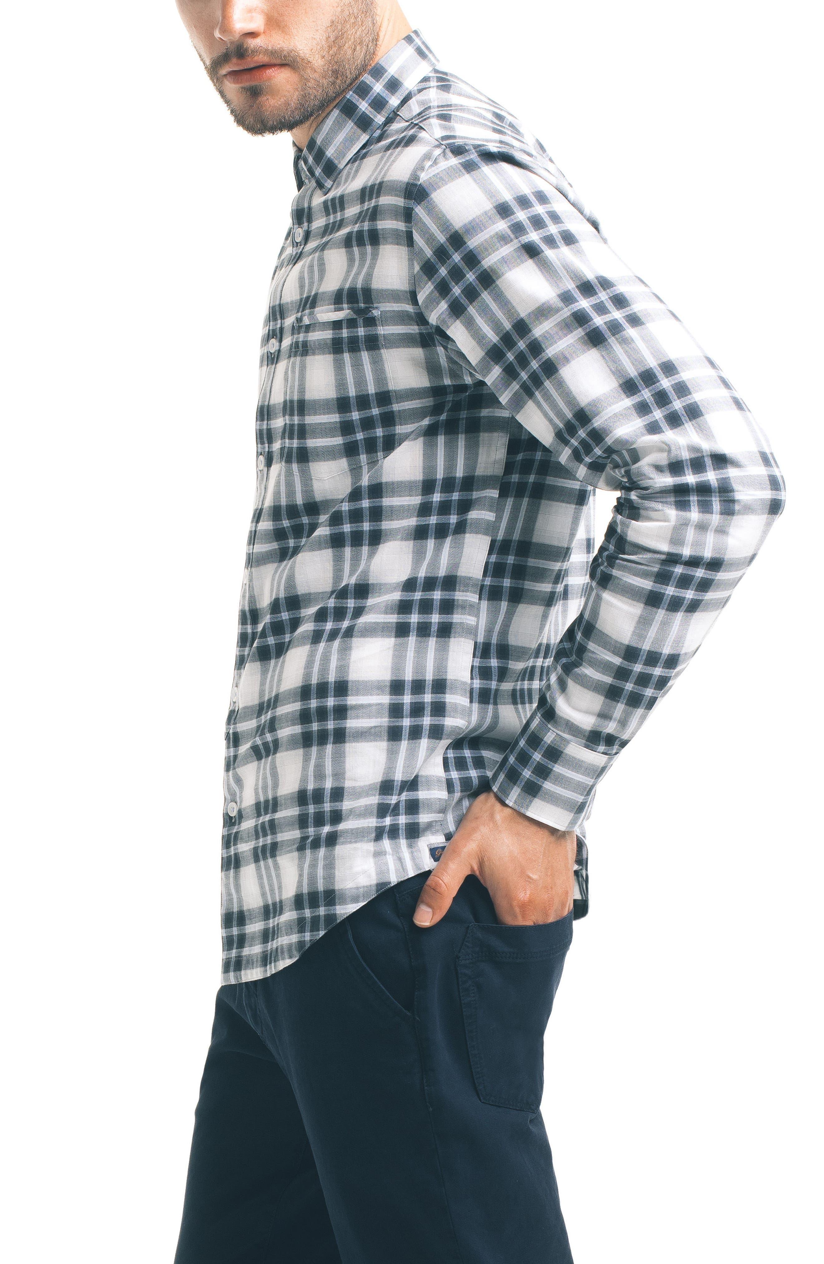 Slim Fit Plaid Sport Shirt,                             Alternate thumbnail 3, color,                             White