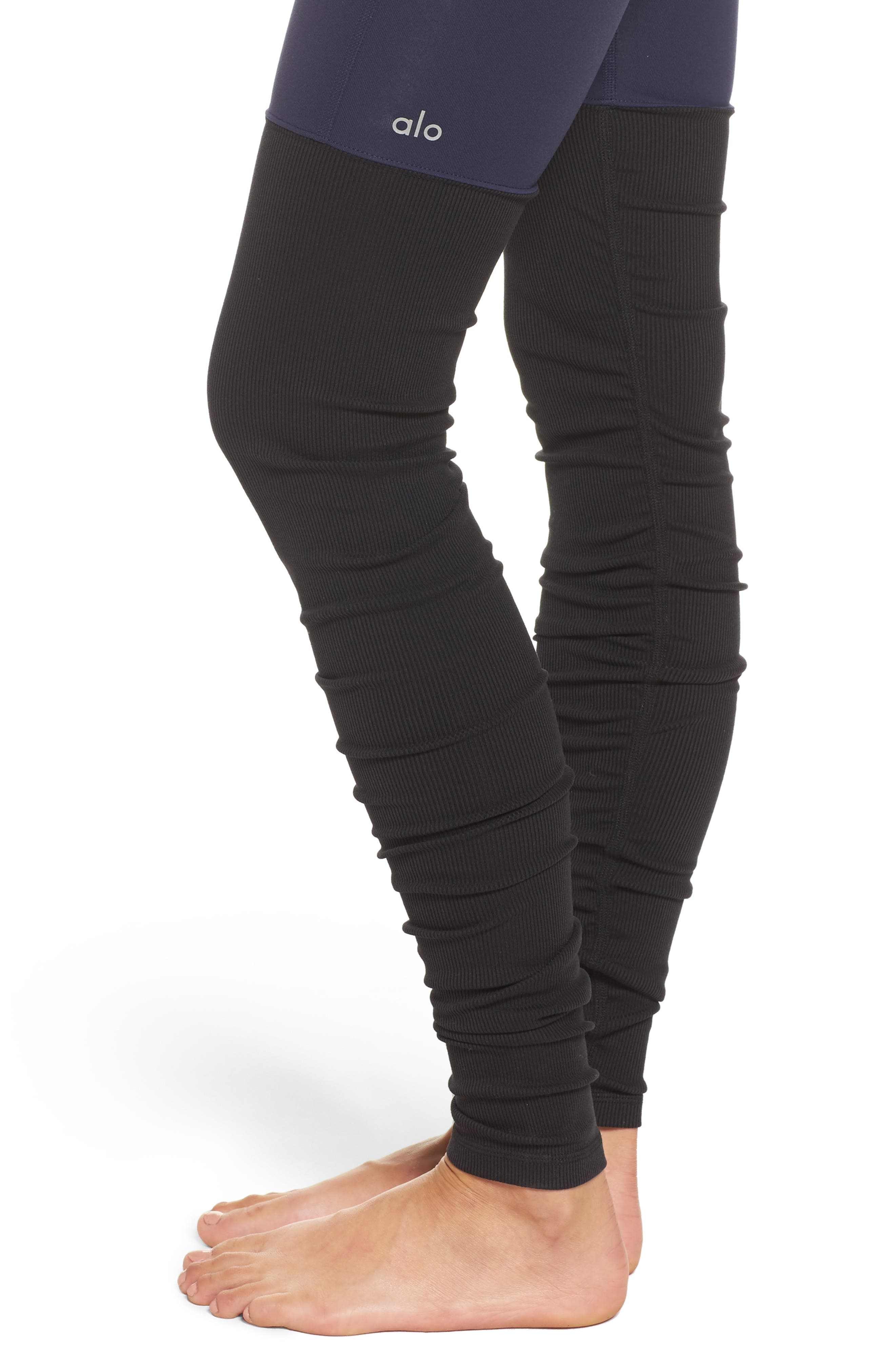 Goddess Ribbed Leggings,                             Alternate thumbnail 4, color,                             Rich Navy/ Black