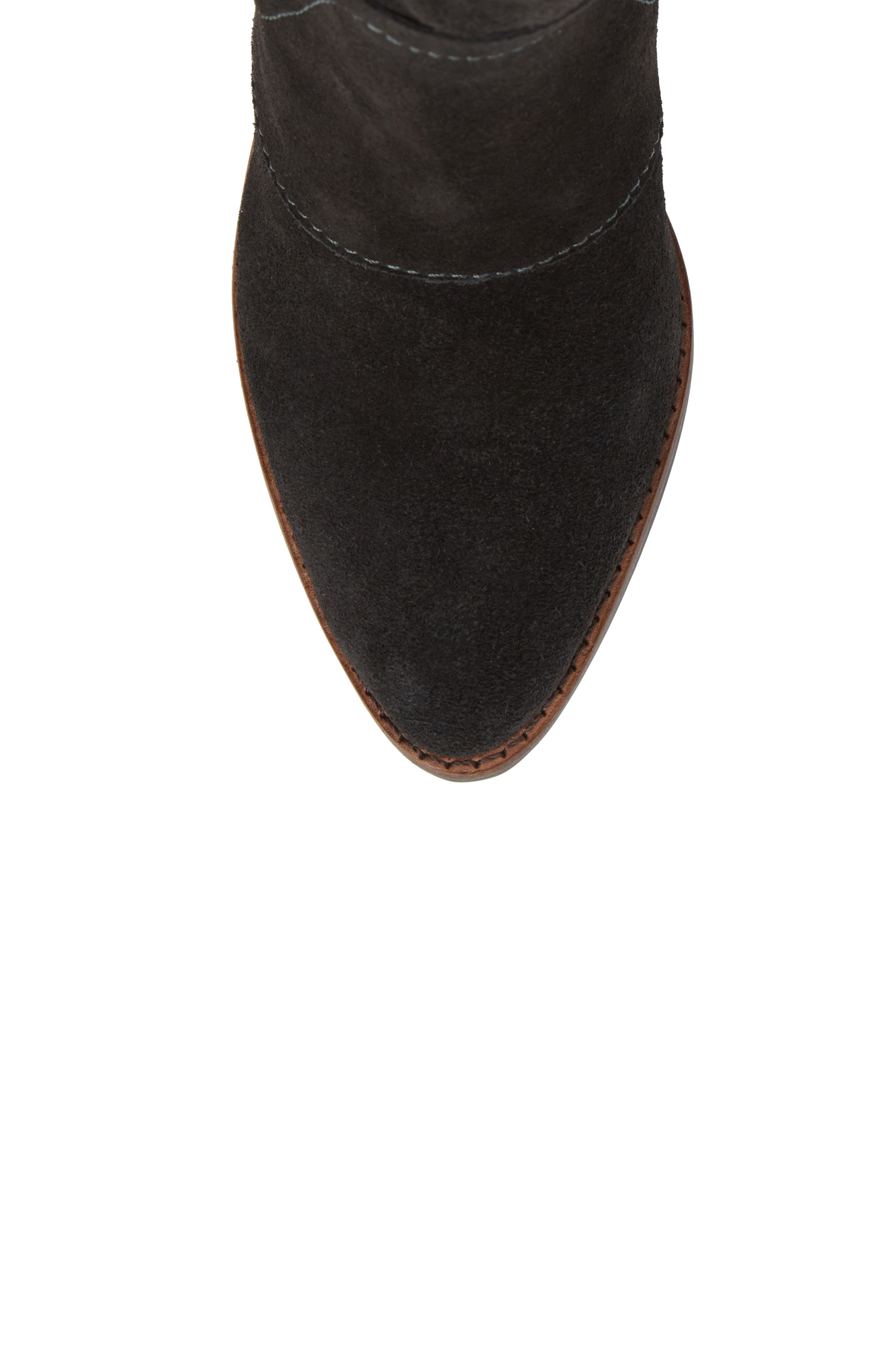 Laney Notched Heel Bootie,                             Alternate thumbnail 5, color,                             Forest Suede