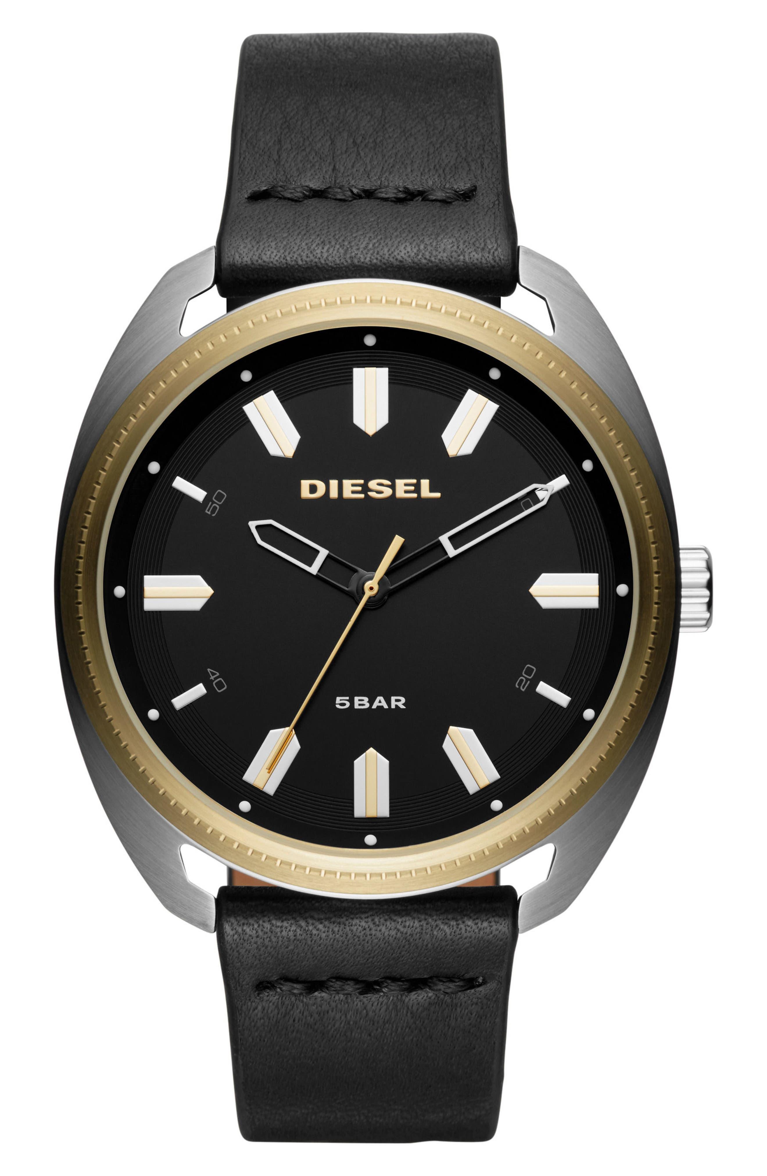 Fastbak Leather Strap Watch, 45mm x 51mm,                         Main,                         color, Black/ Black