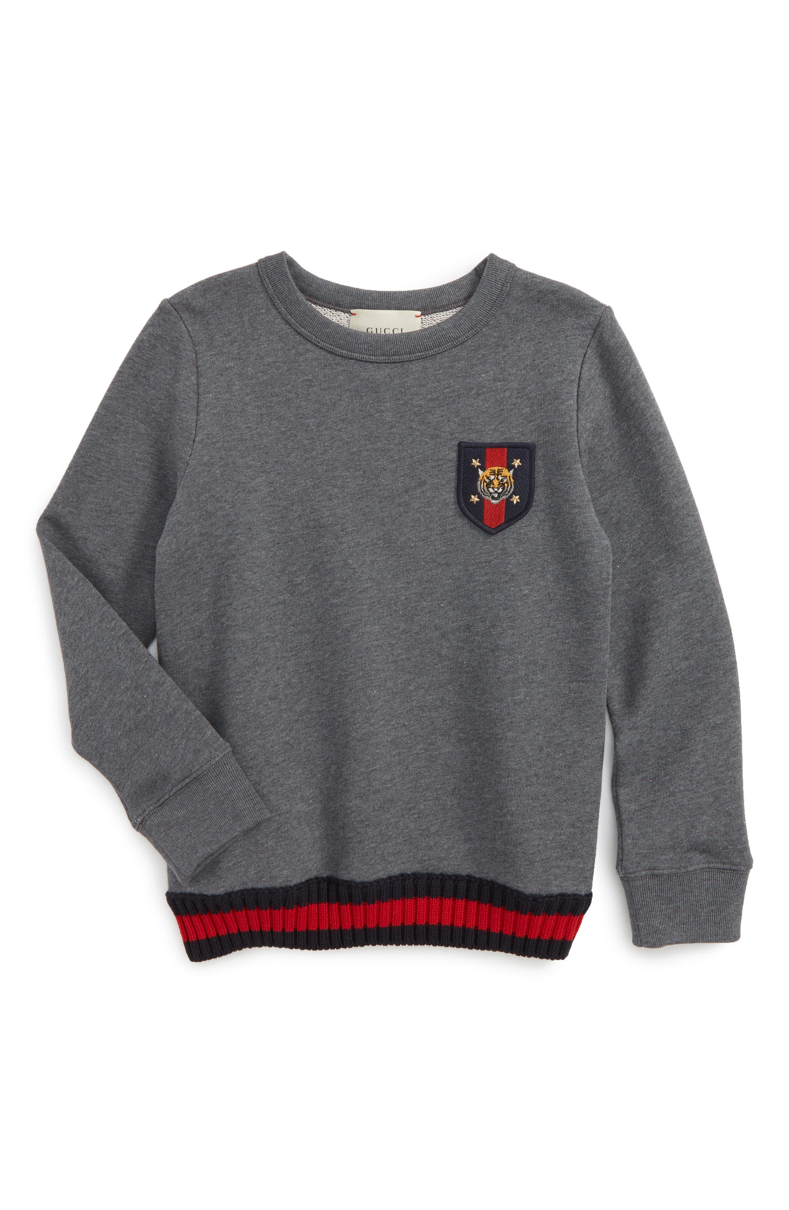 Patch Sweatshirt,                         Main,                         color, Dark Grey Multi
