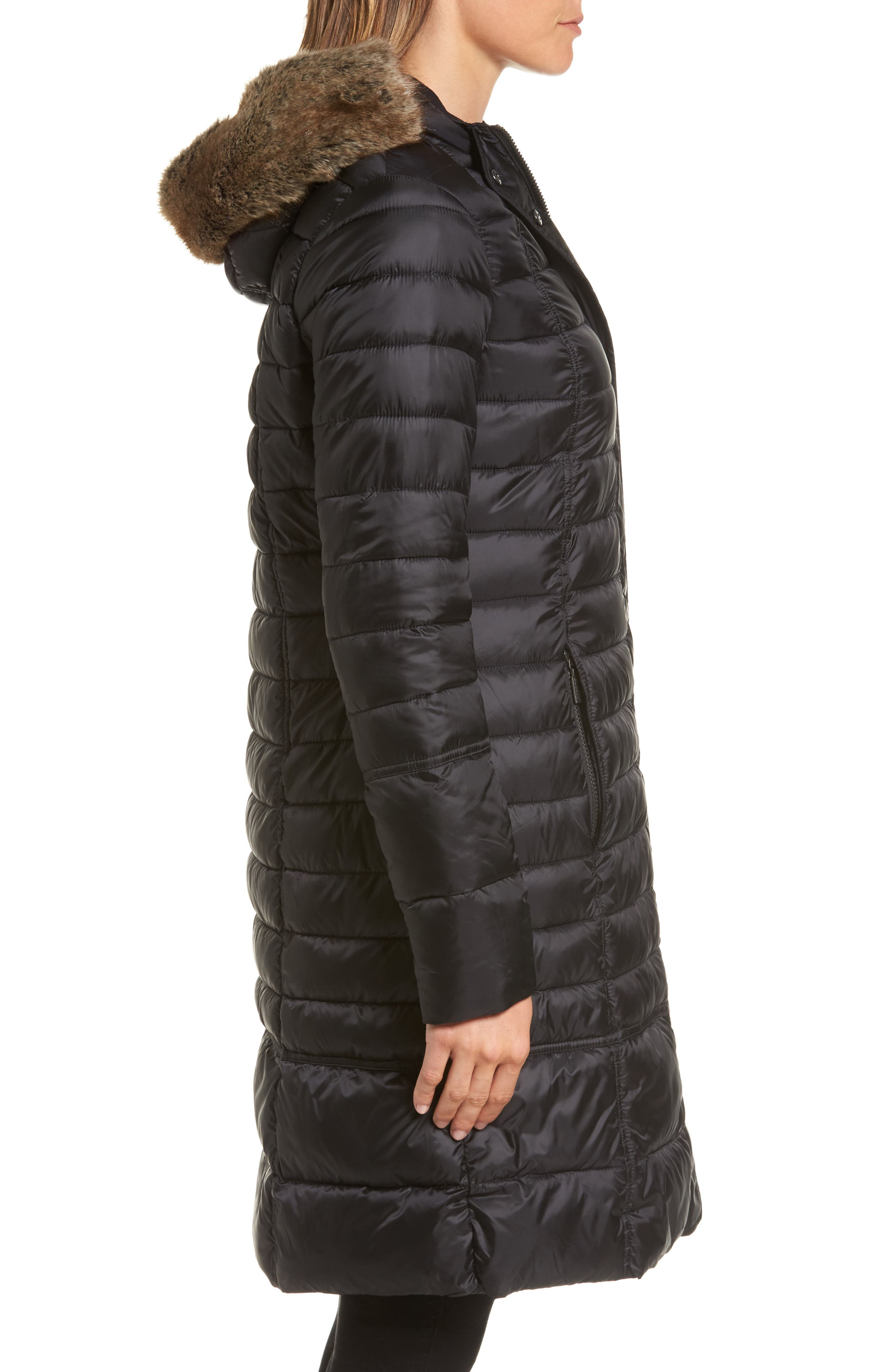 Alternate Image 3  - Barbour Fortrose Hooded Quilted Coat with Faux Fur Trim