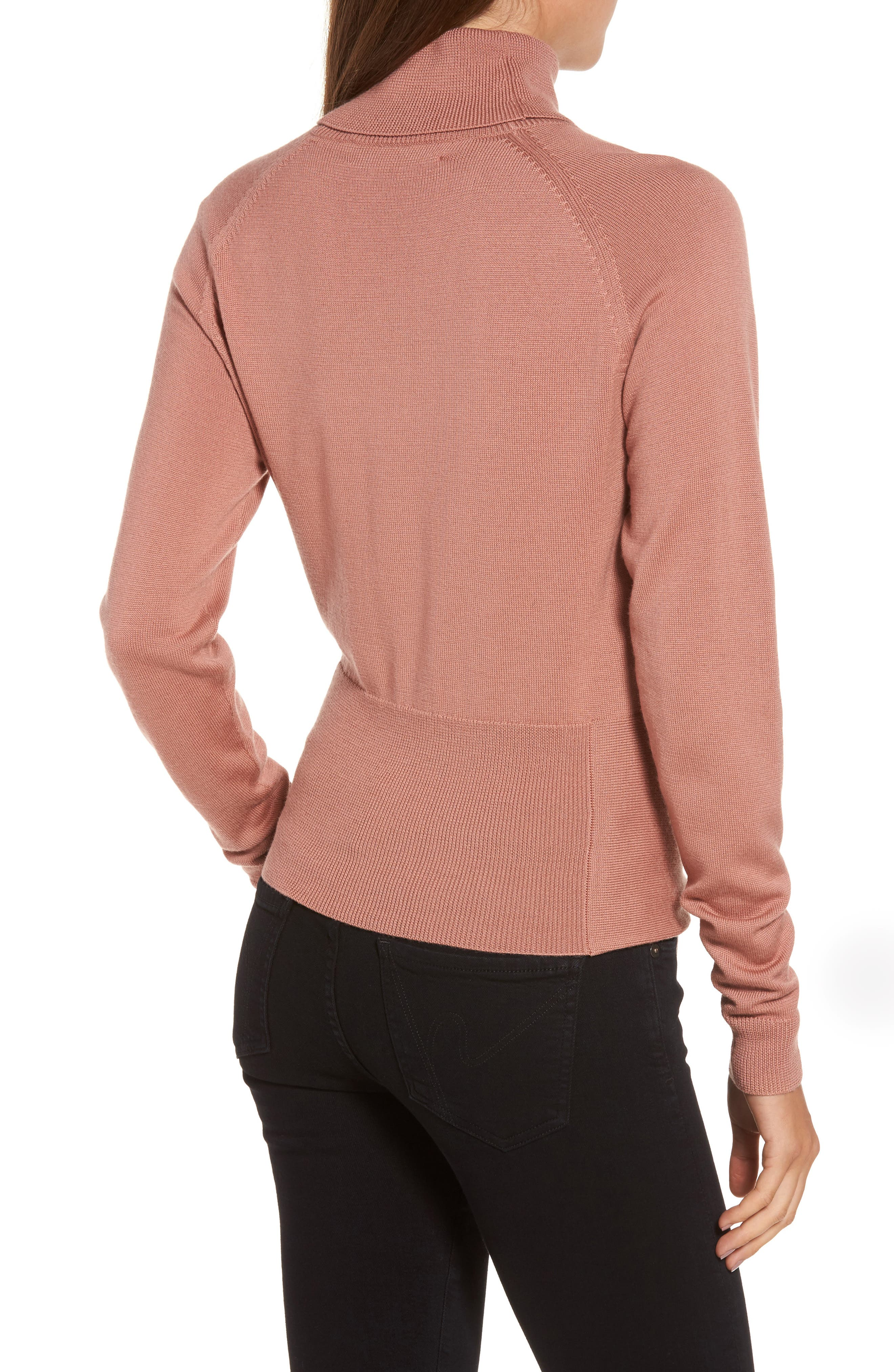 Tie Front Turtleneck Sweater,                             Alternate thumbnail 2, color,                             Rose