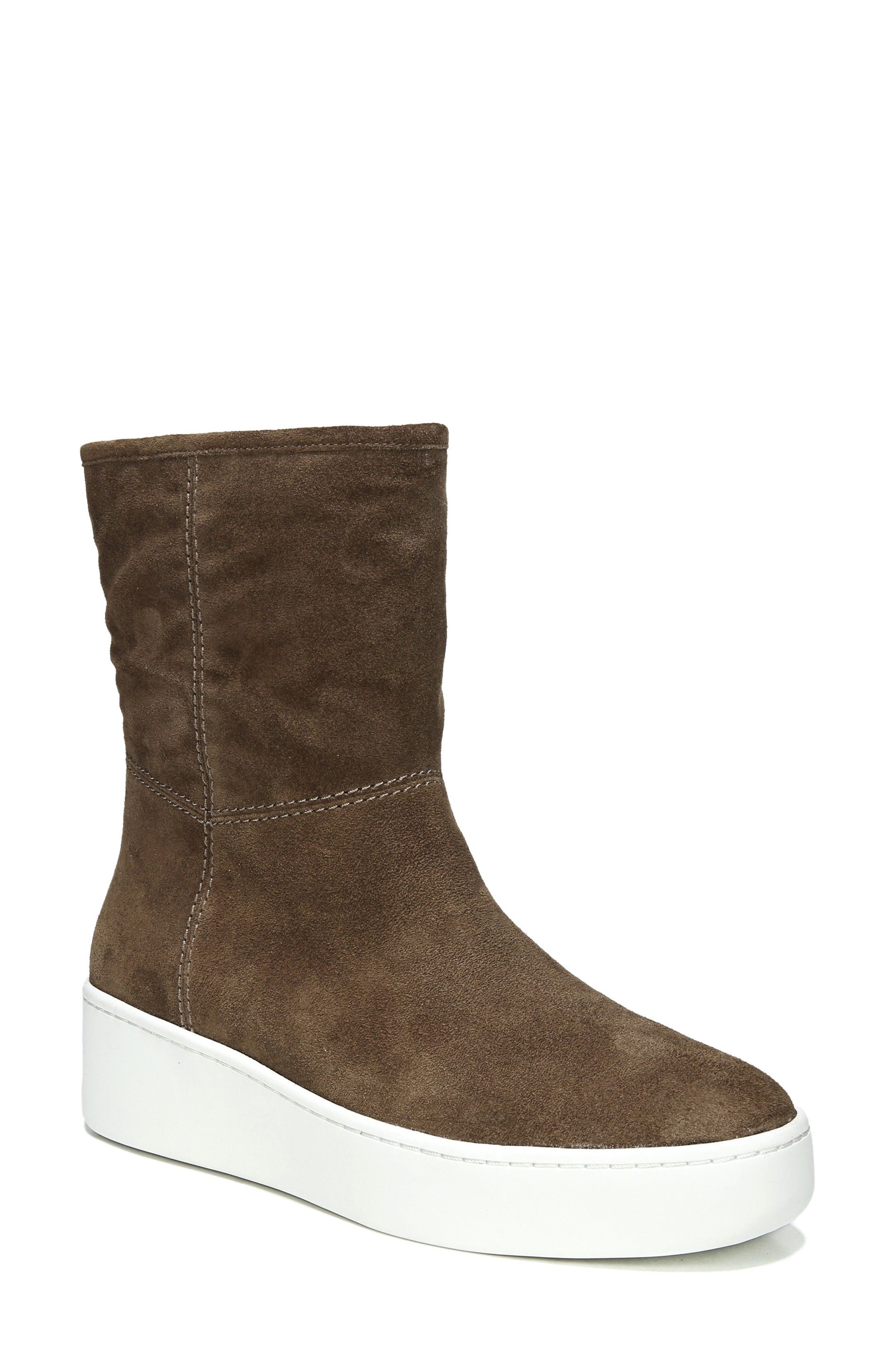 Elona Genuine Shearling Lined Sneaker Boot,                             Main thumbnail 1, color,                             Bark Suede