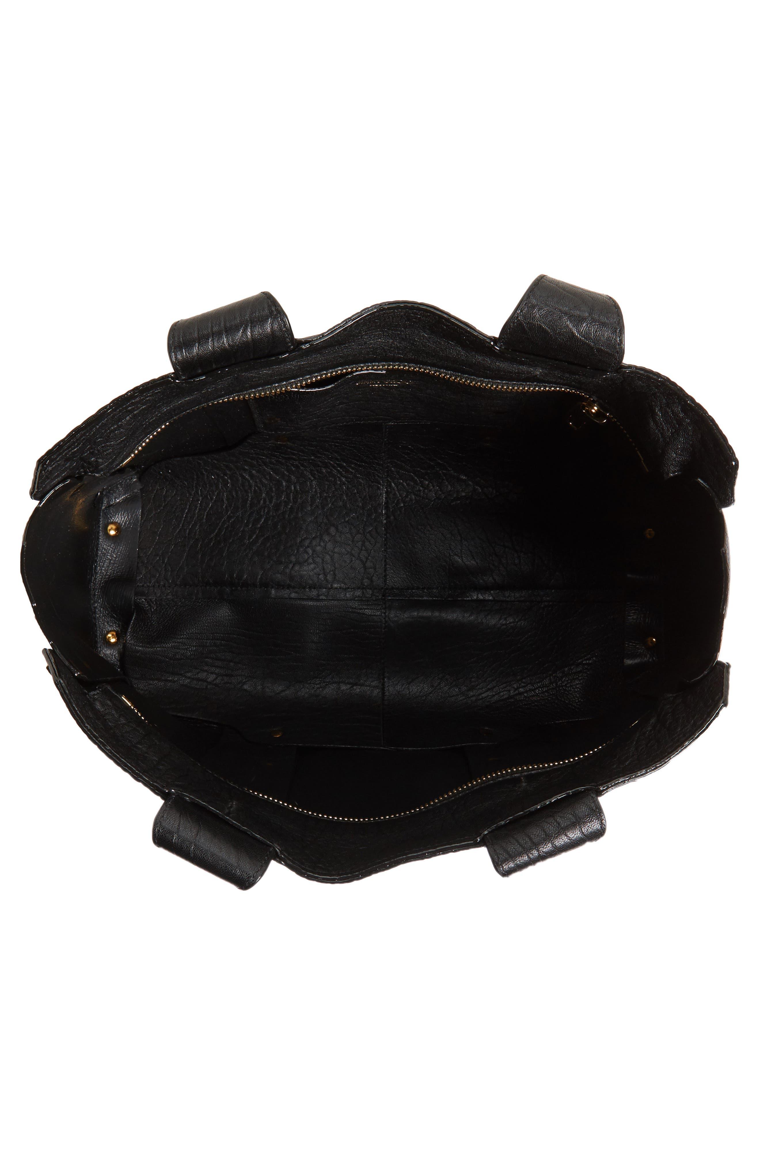 Lockett Leather Shopper,                             Alternate thumbnail 4, color,                             Black