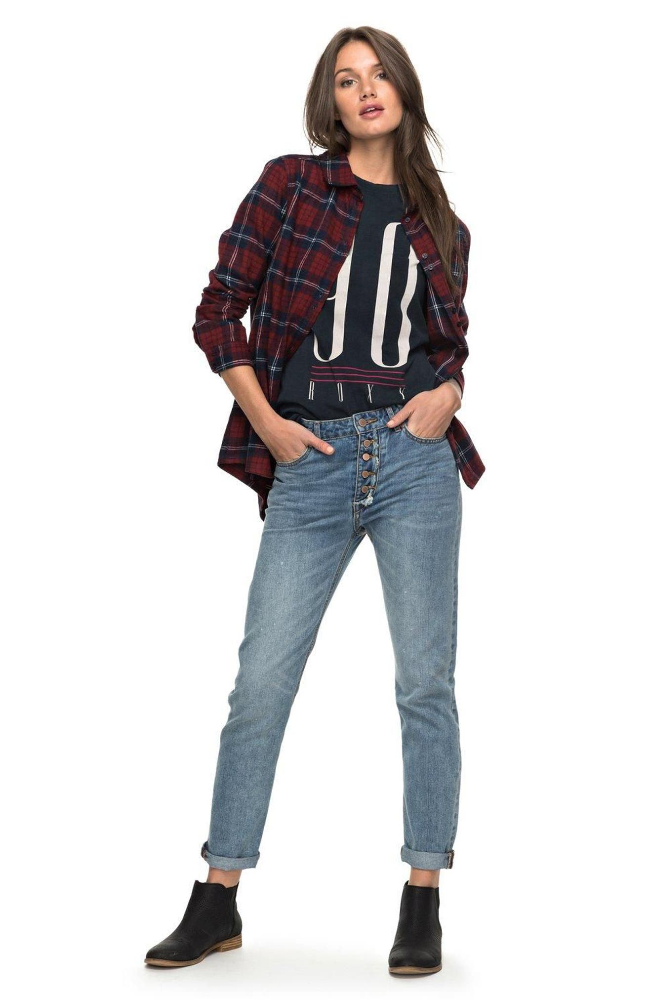 Alternate Image 2  - Roxy Heavy Feelings Plaid Shirt