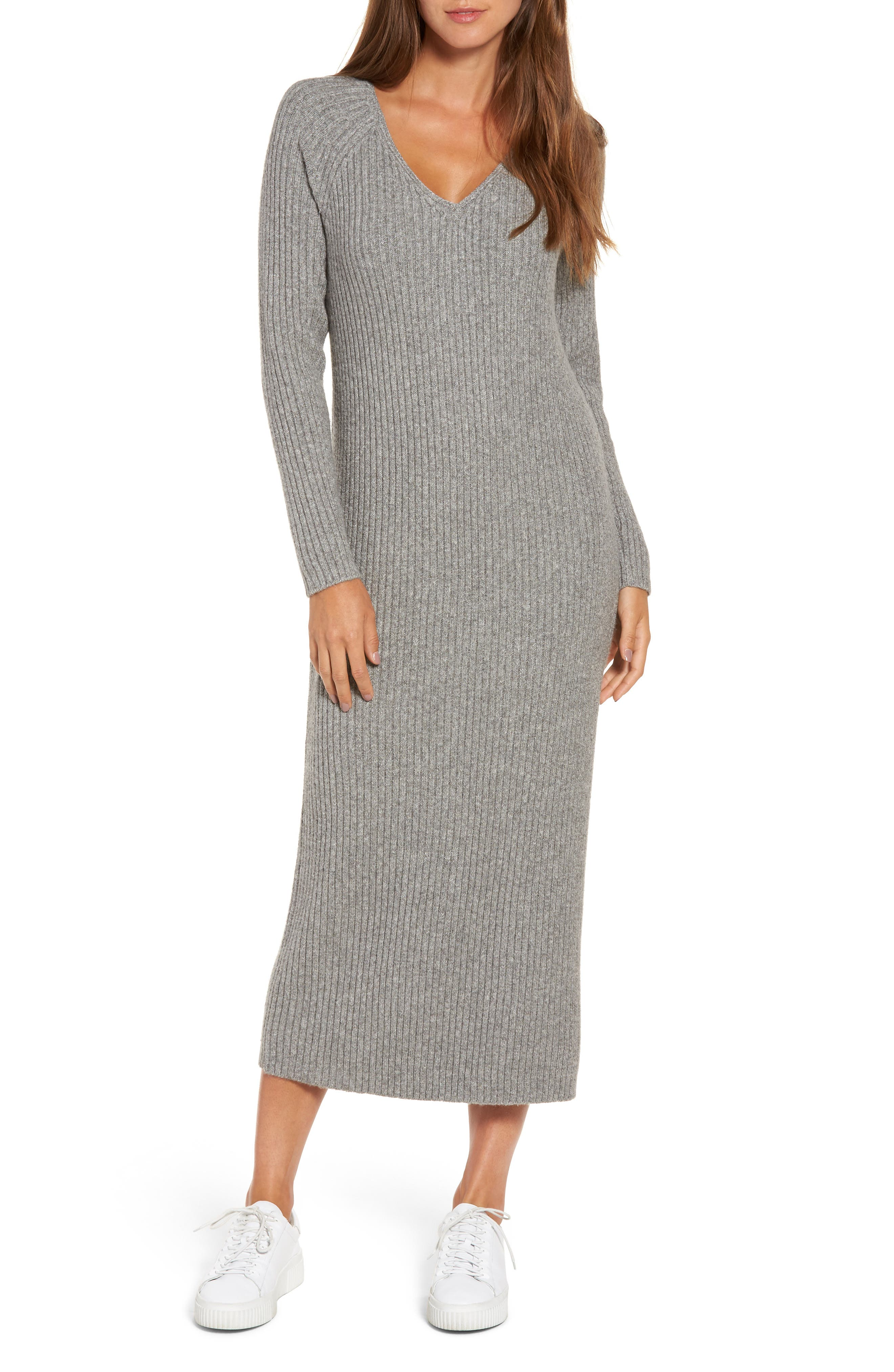 Ribbed Maxi Sweater Dress,                         Main,                         color, Grey Heather