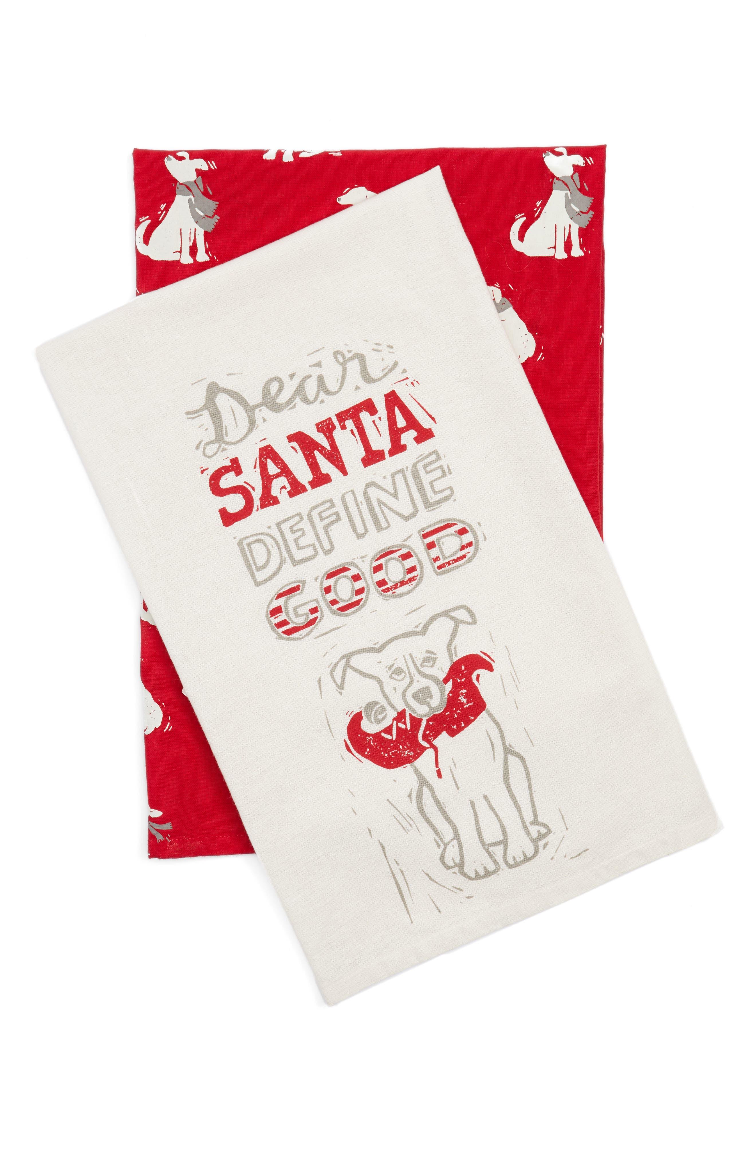 Dear Santa Set of 2 Dish Towels,                             Main thumbnail 1, color,                             Ivory