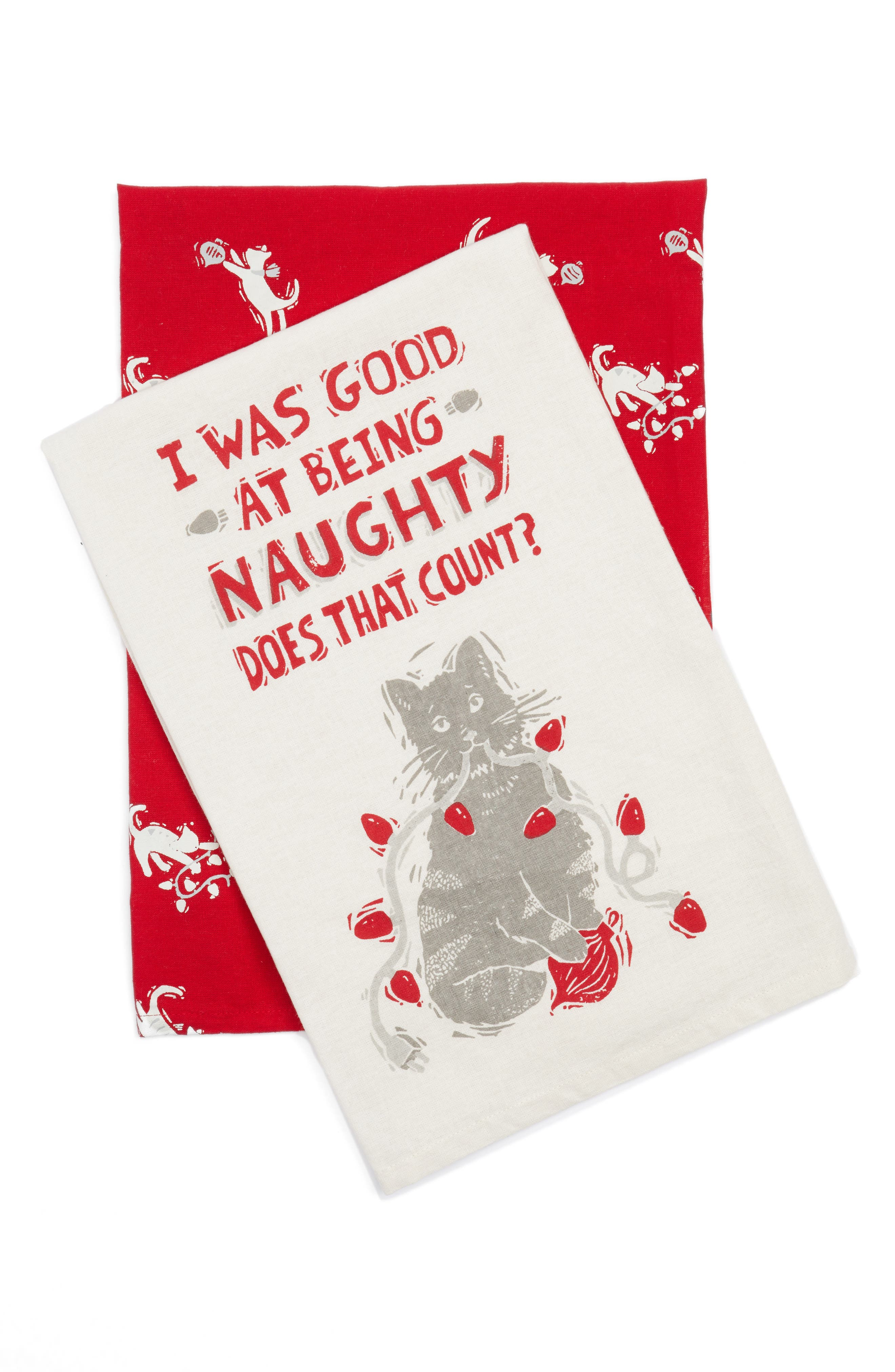 Naughty Set of 2 Dish Towels,                         Main,                         color, Ivory