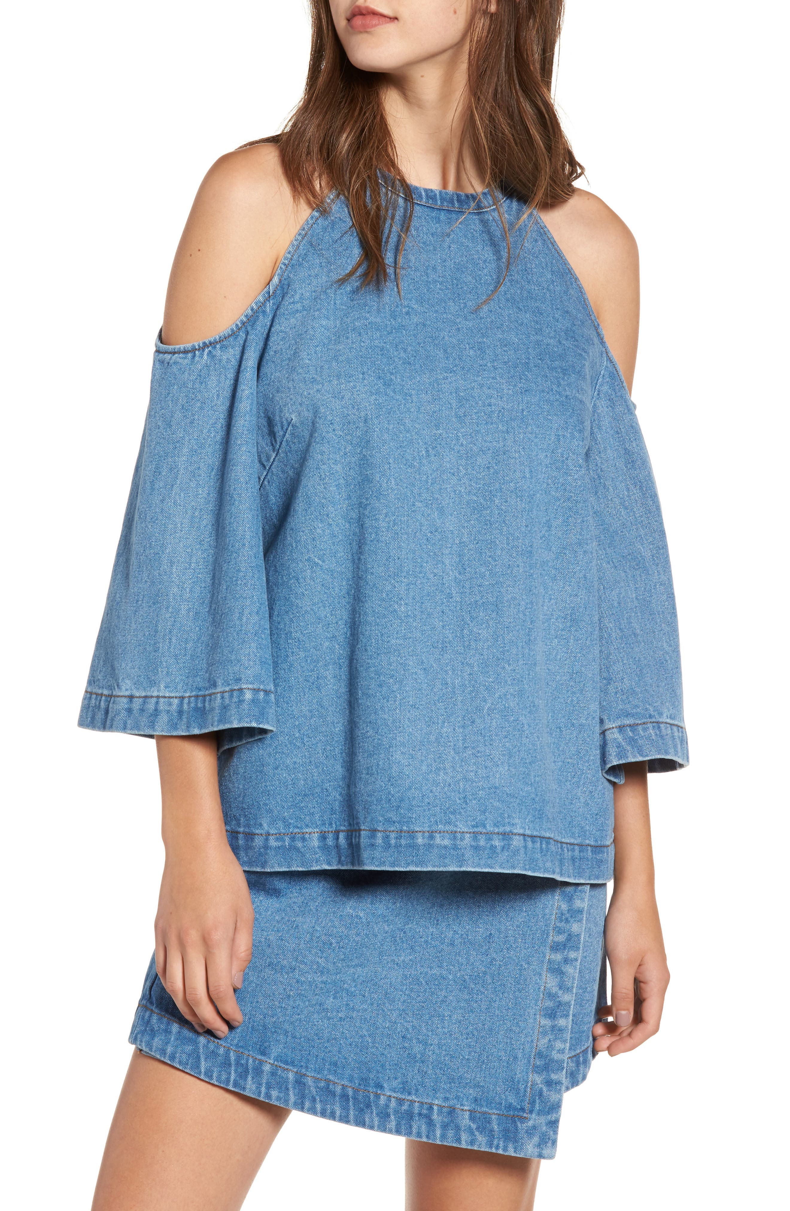 The Fifth Label Back Streets Chambray Cold Shoulder Top