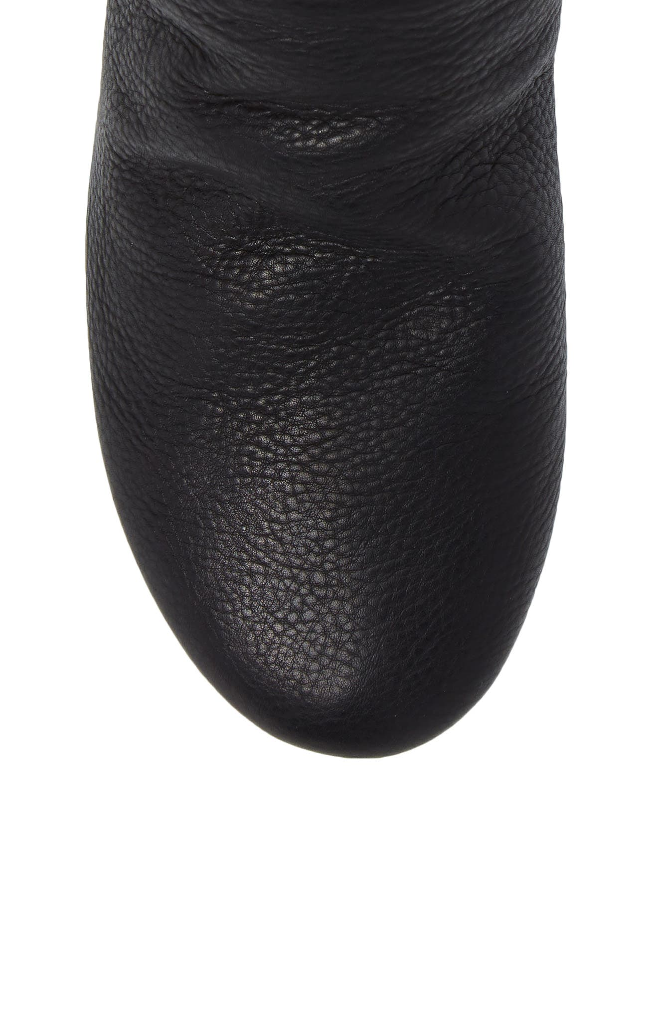 Ayo Low Wedge Bootie,                             Alternate thumbnail 5, color,                             Smooth Black Leather