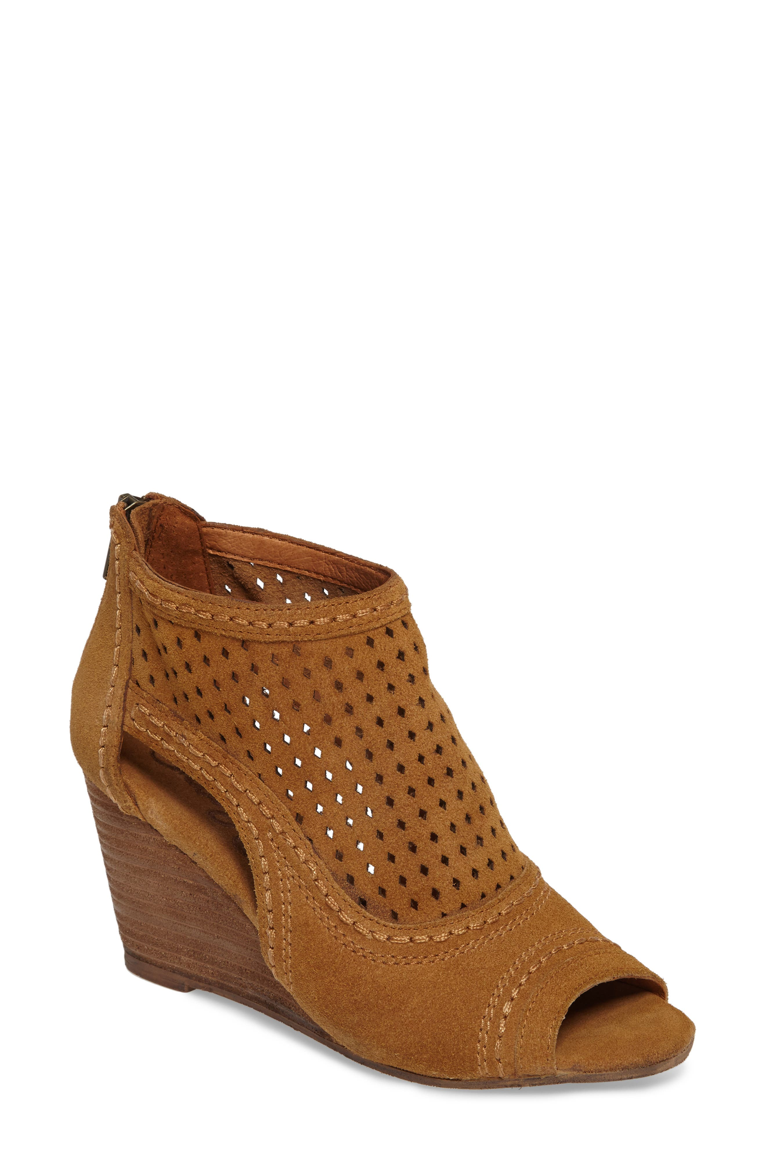 Sharon Perforated Wedge Sandal,                         Main,                         color, Sandcastle Suede