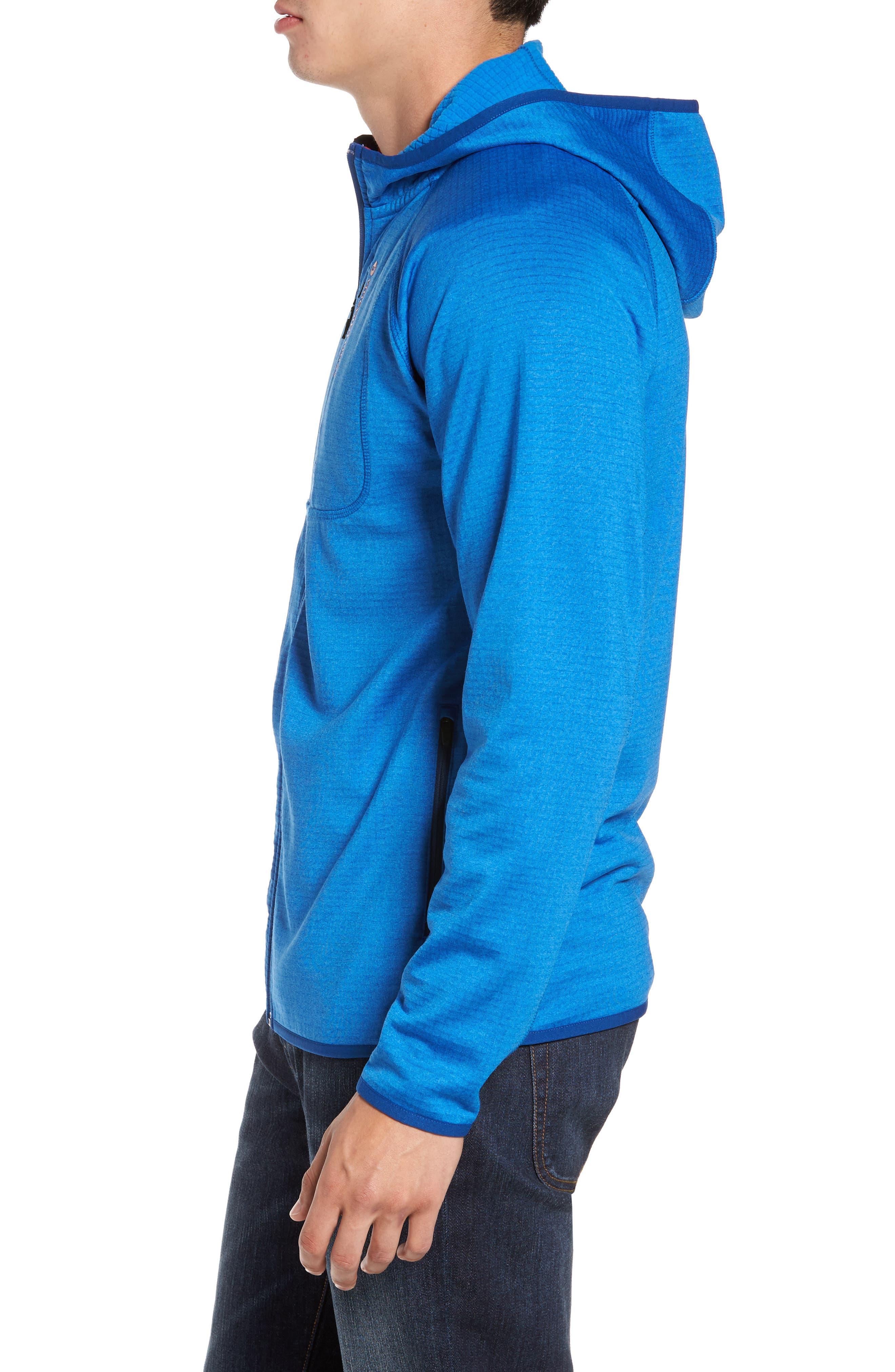 Grid Full Zip Fleece Hoodie,                             Alternate thumbnail 3, color,                             Regatta Blue