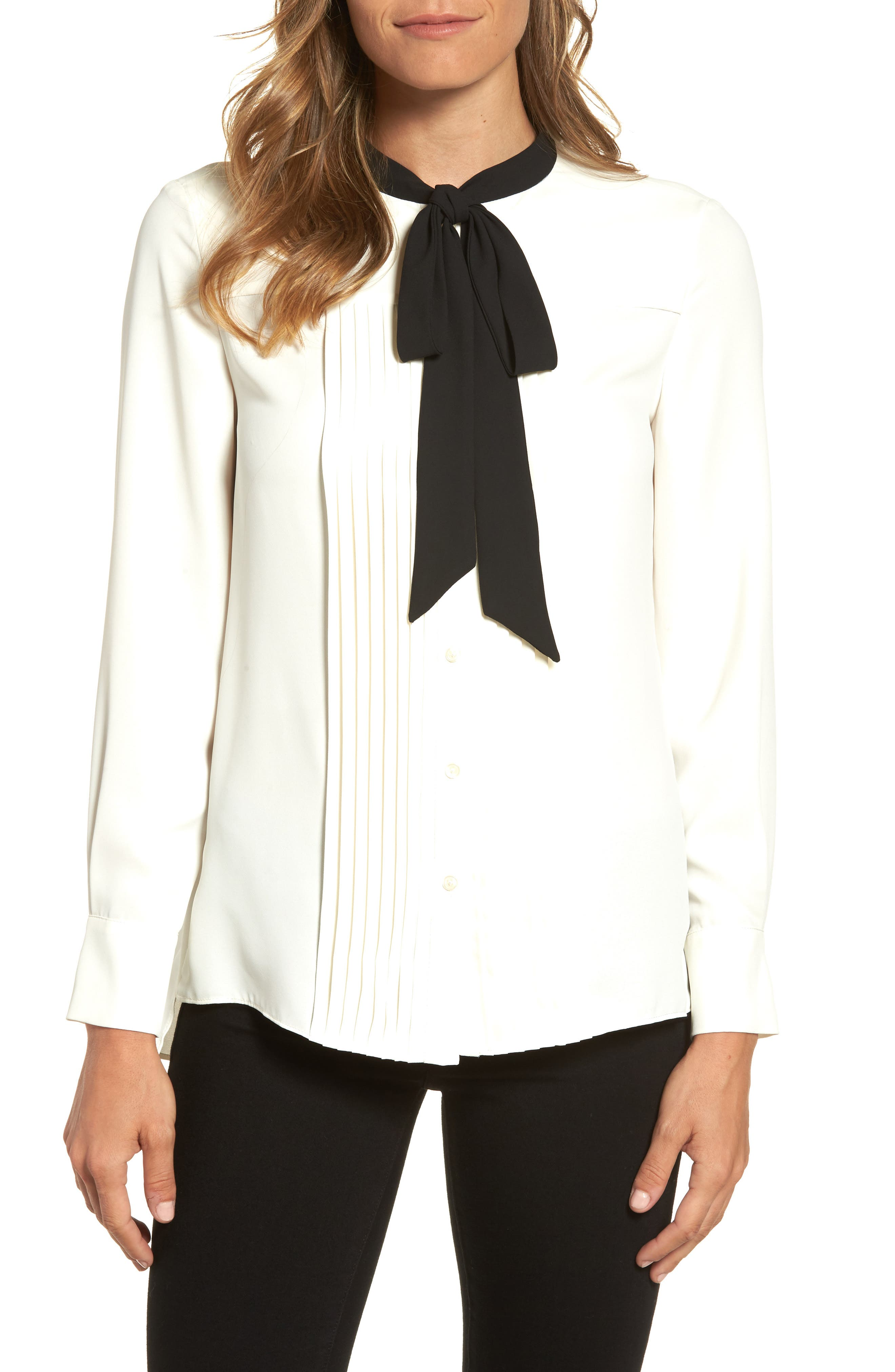Bow Neck Blouse,                         Main,                         color, White
