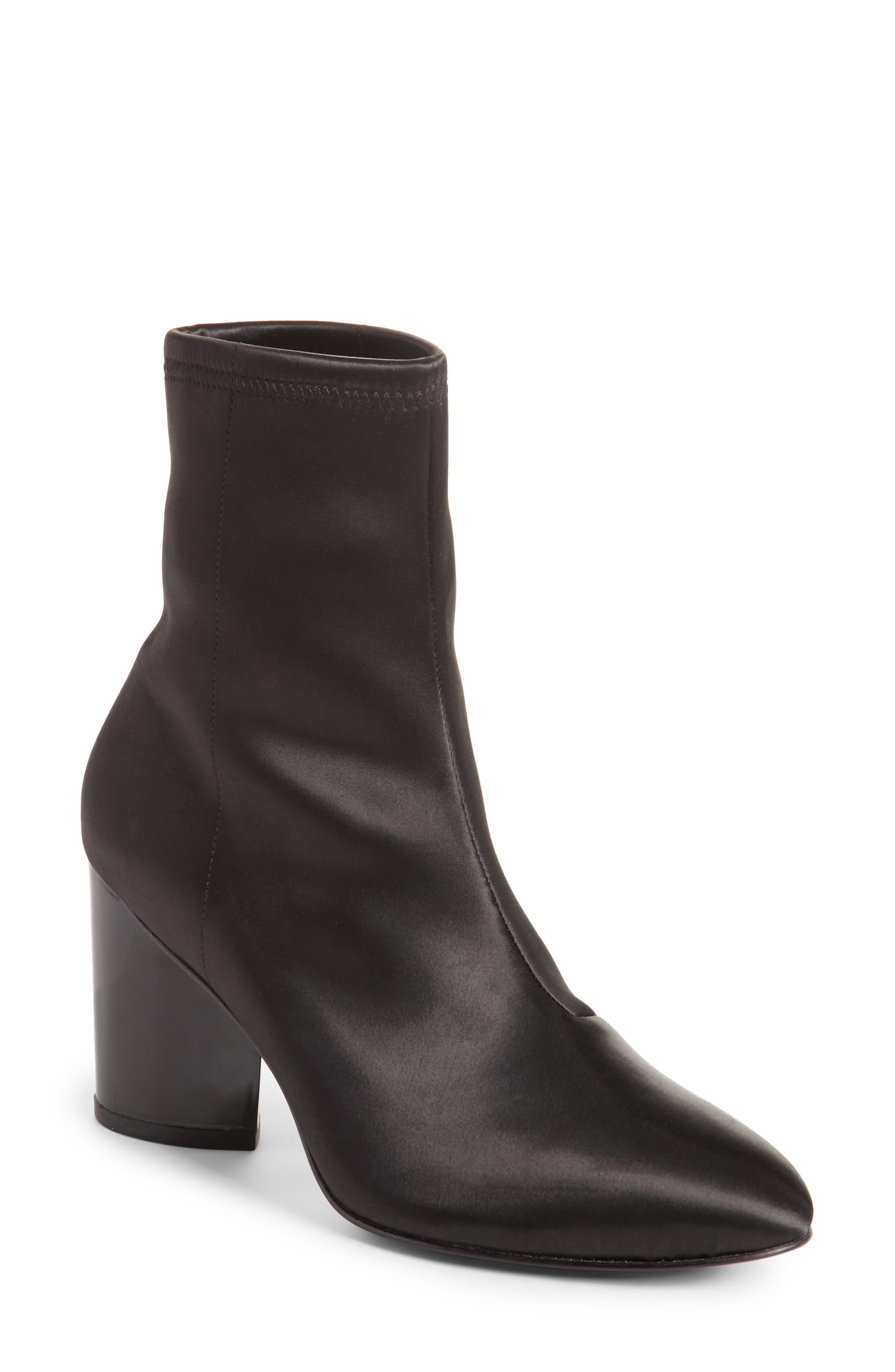 Dylan Stretch Satin Bootie,                             Main thumbnail 1, color,                             Black
