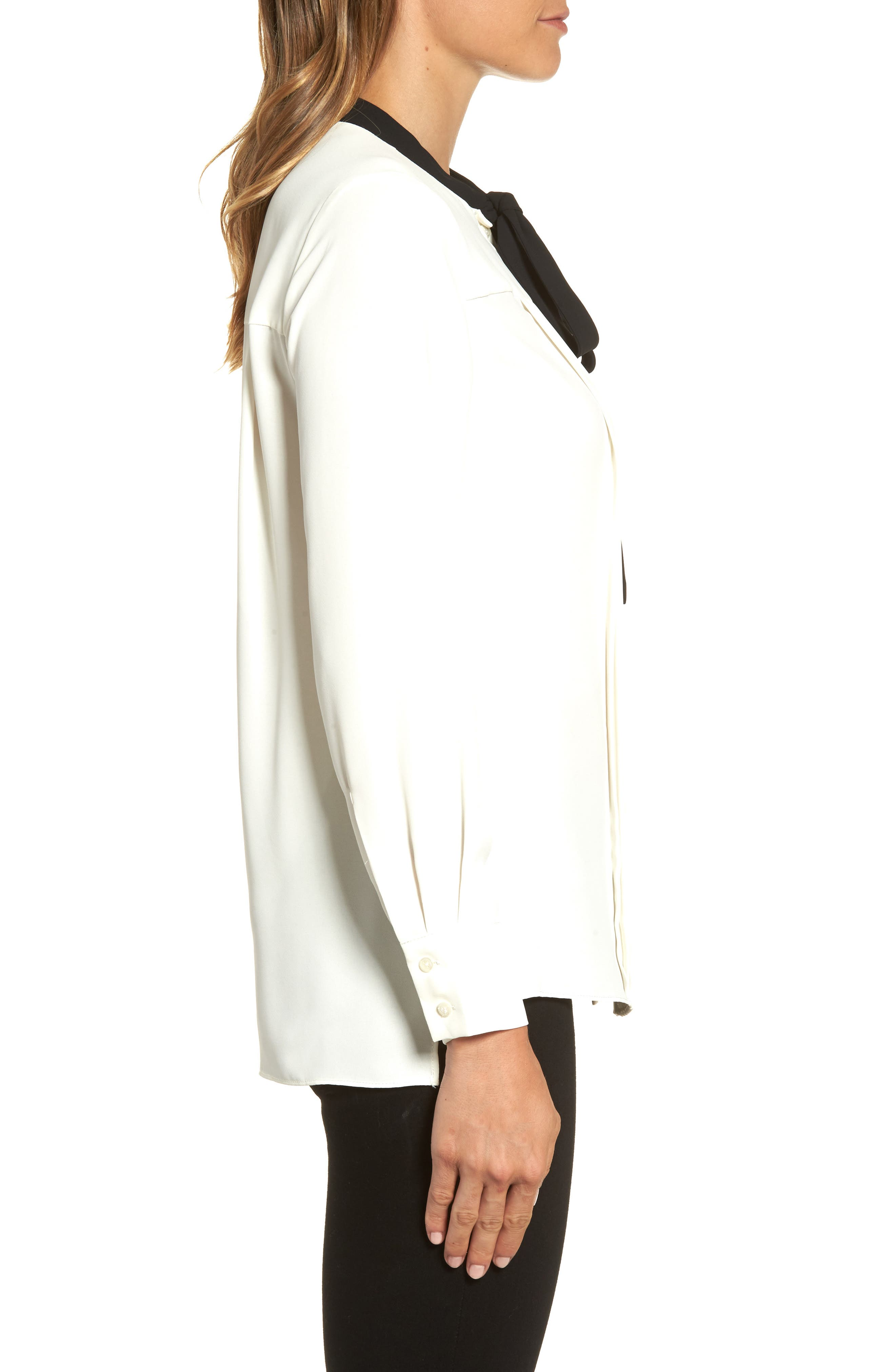 Bow Neck Blouse,                             Alternate thumbnail 3, color,                             White