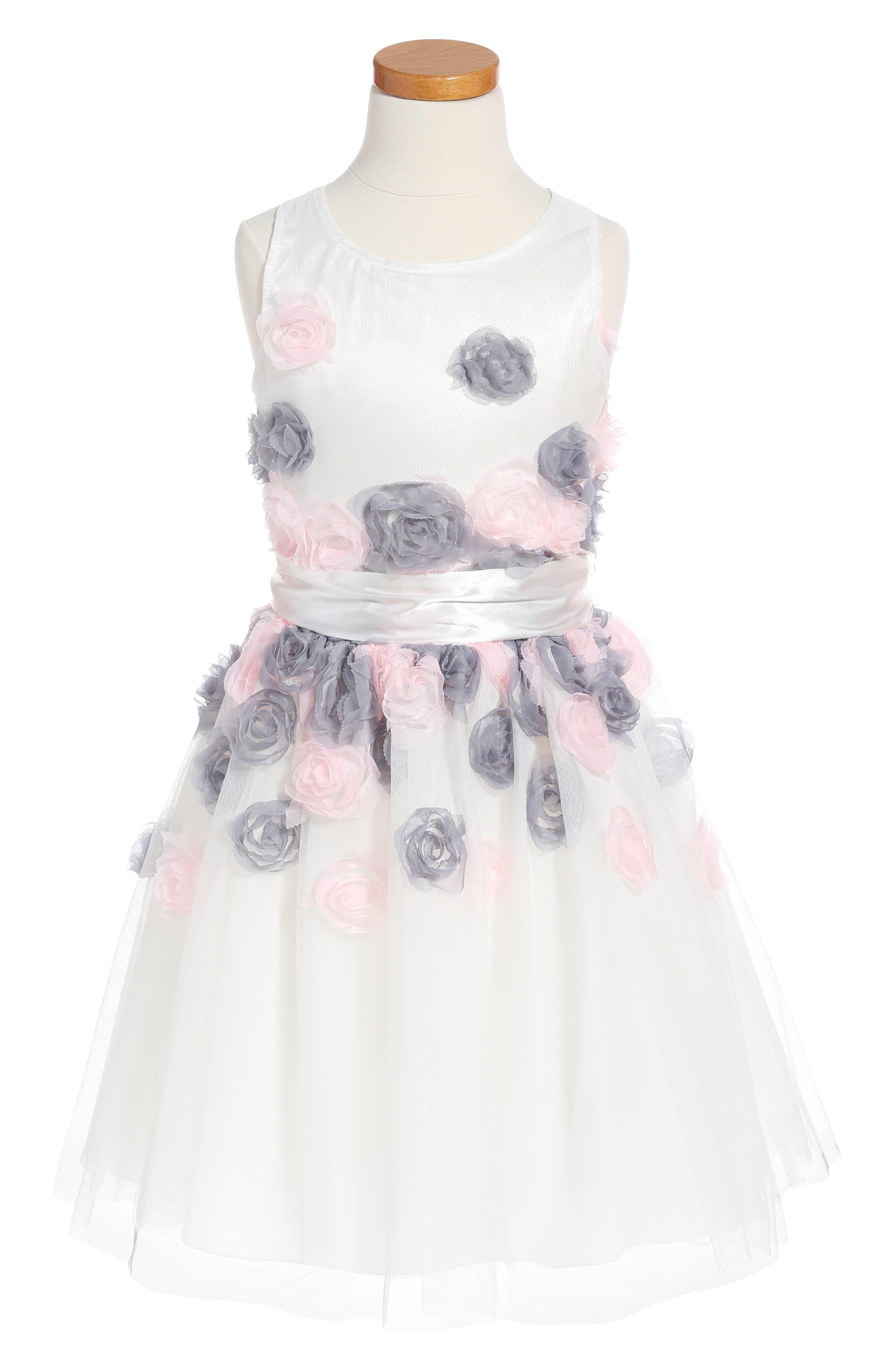 Flower Embellished Fit & Flare Mesh Dress,                         Main,                         color, White