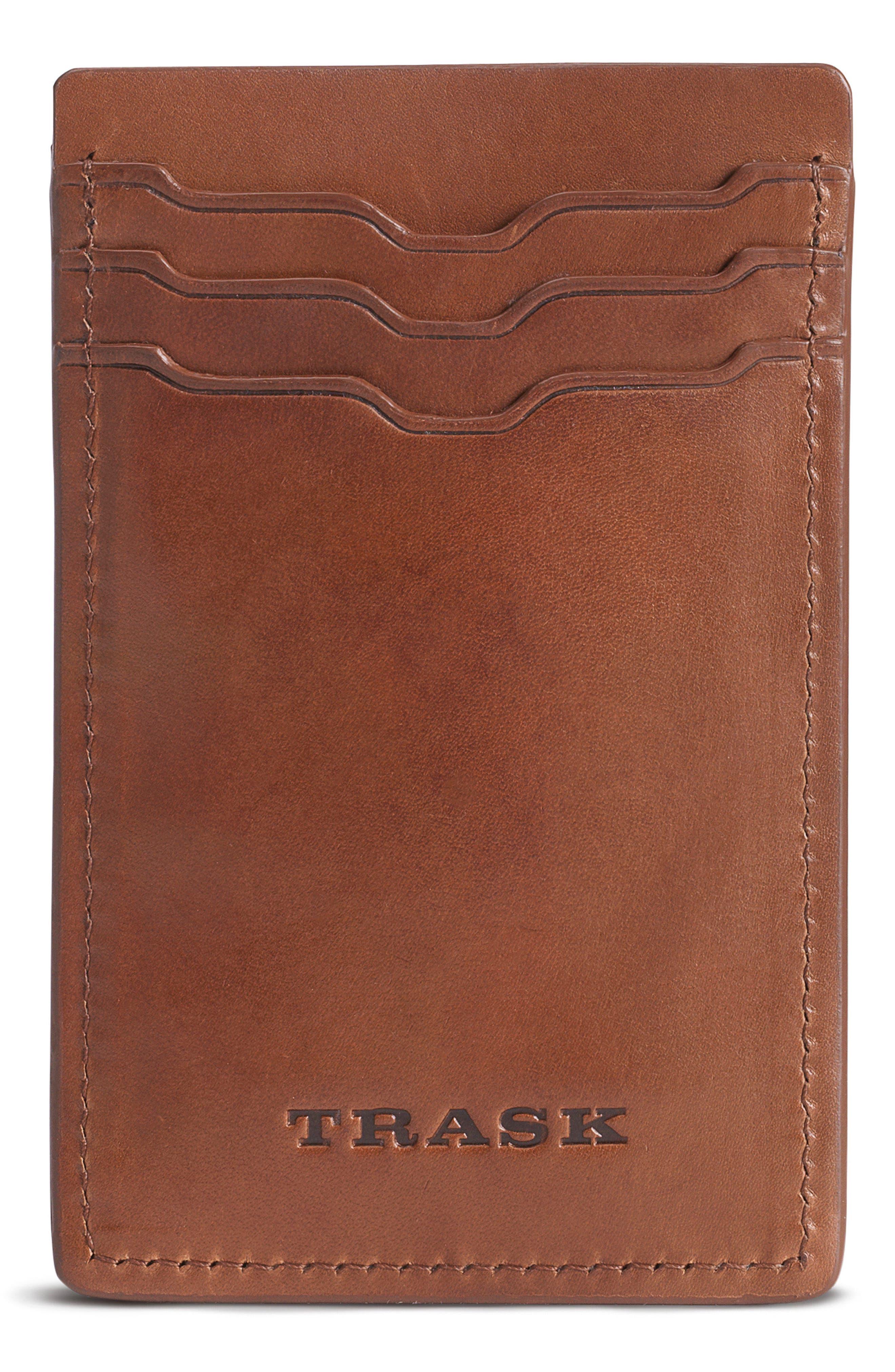 Colton Money Clip Card Case,                             Main thumbnail 1, color,                             Tan Waxy Calfskin