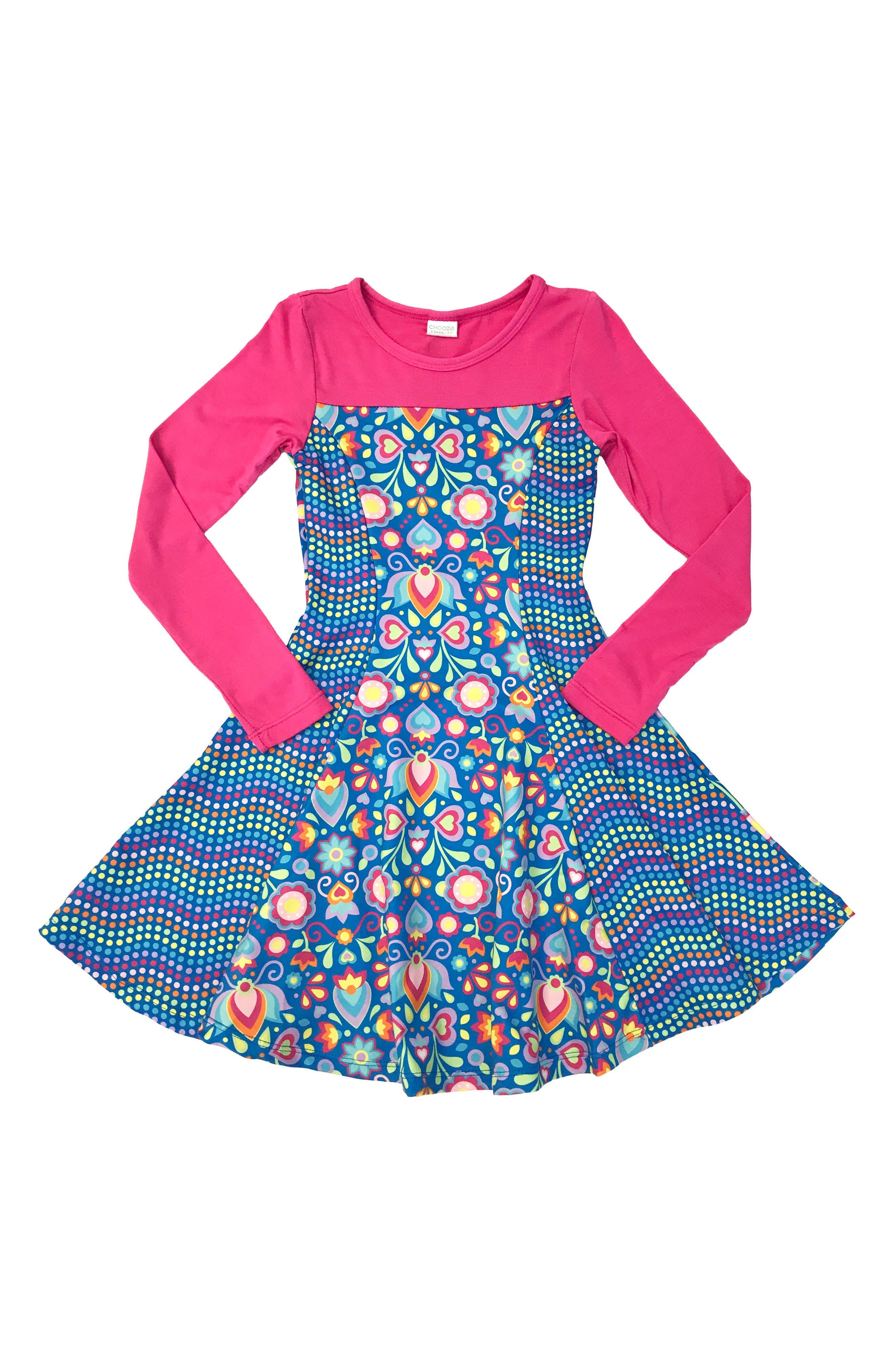 CHOOZE Lead Mixed Print Skater Dress (Little Girls & Big Girls)