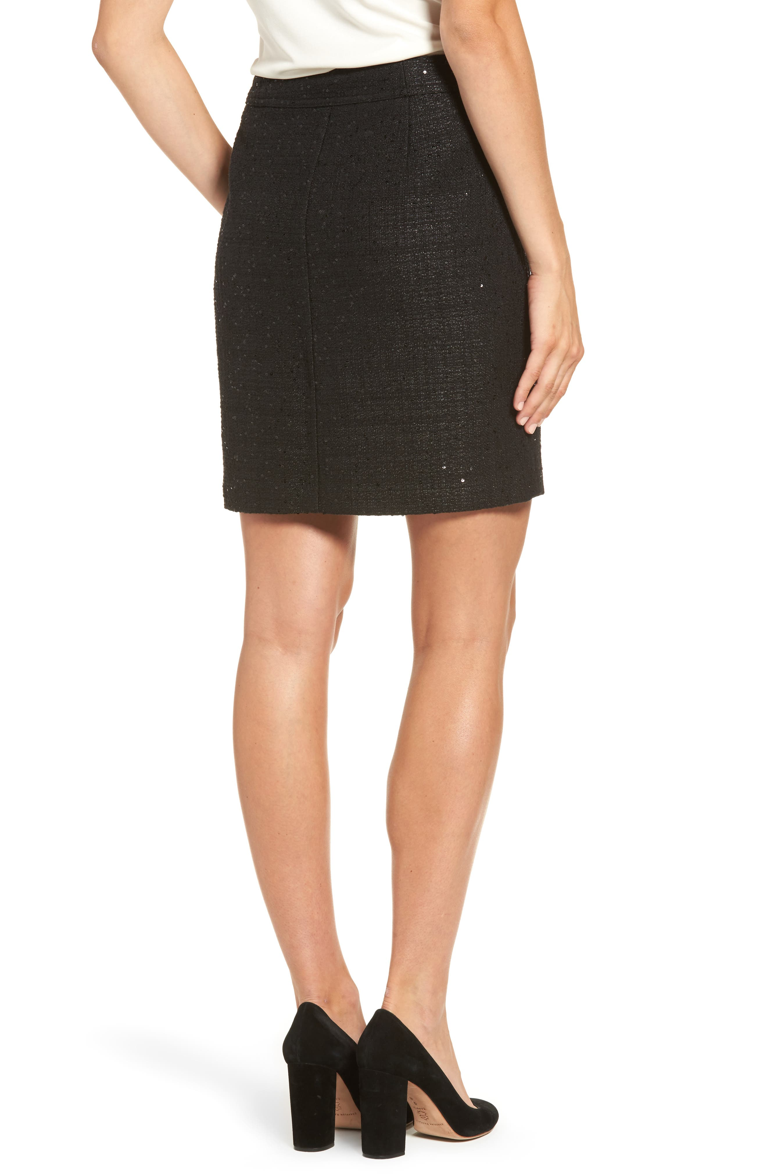 Sequin Tweed Skirt,                             Alternate thumbnail 2, color,                             Black/ Black