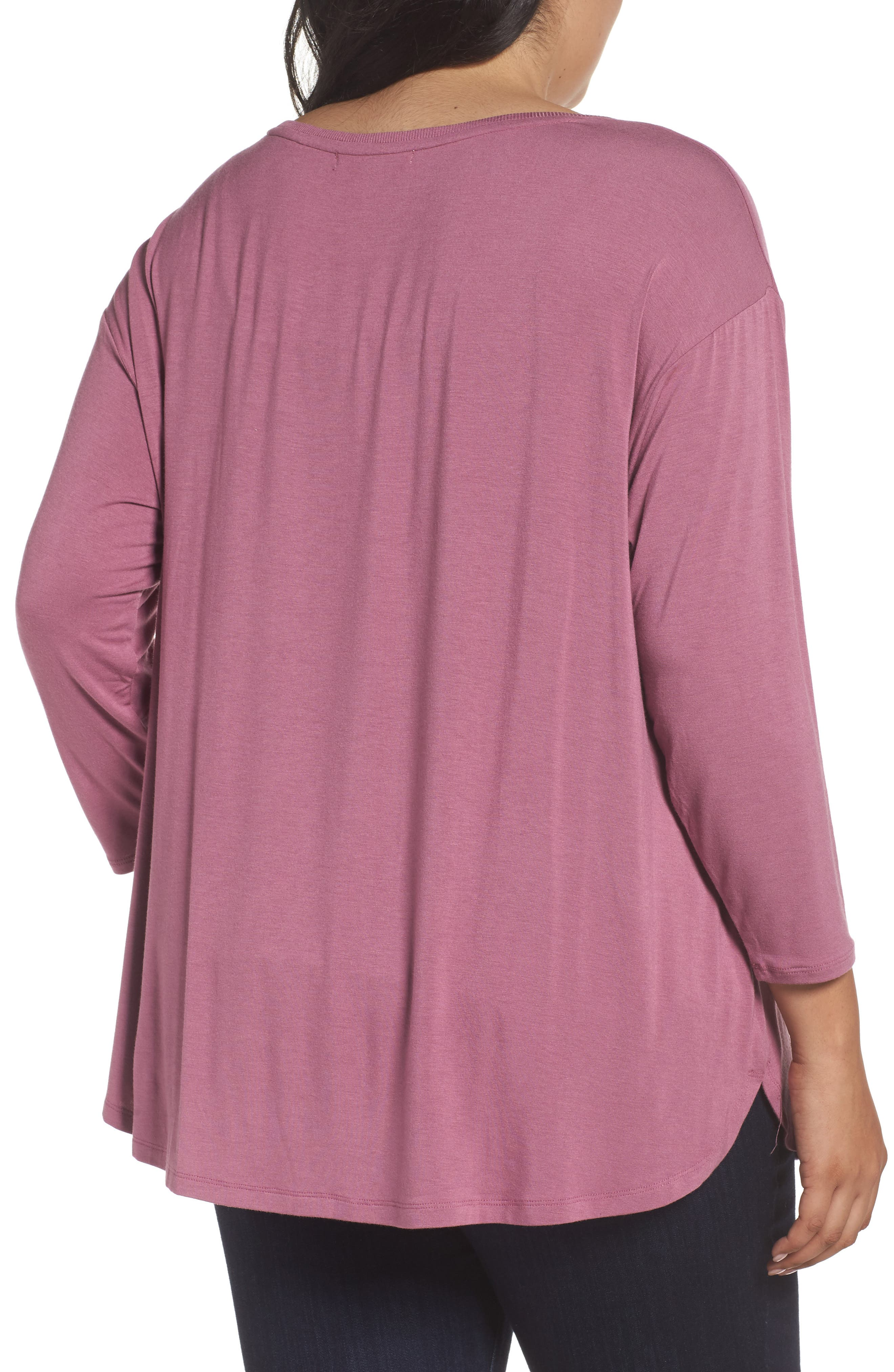 Scoop Neck Tee,                             Alternate thumbnail 2, color,                             Purple Syrup