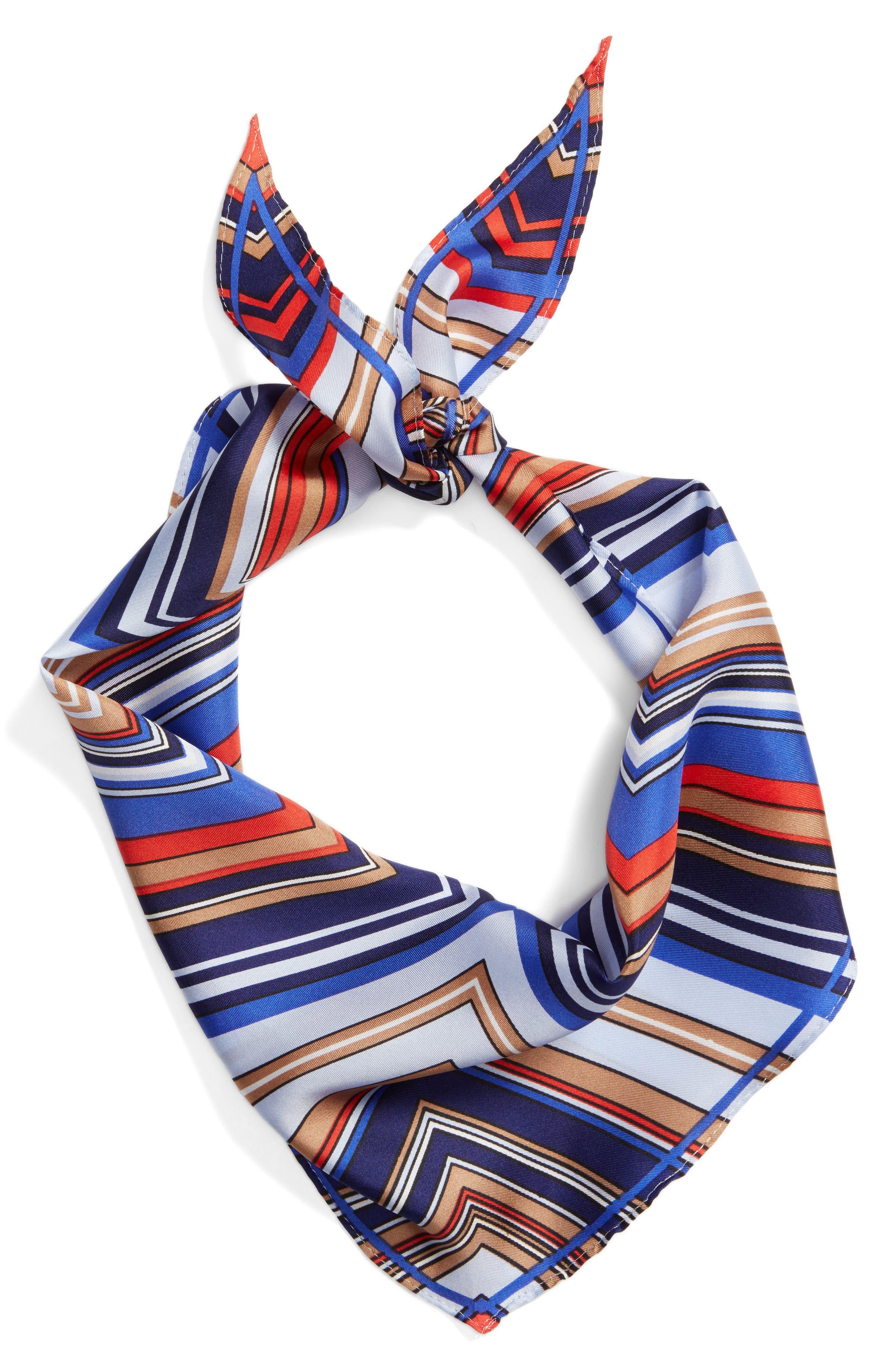 Stripe Diamond Silk Scarf,                             Alternate thumbnail 3, color,                             Blue
