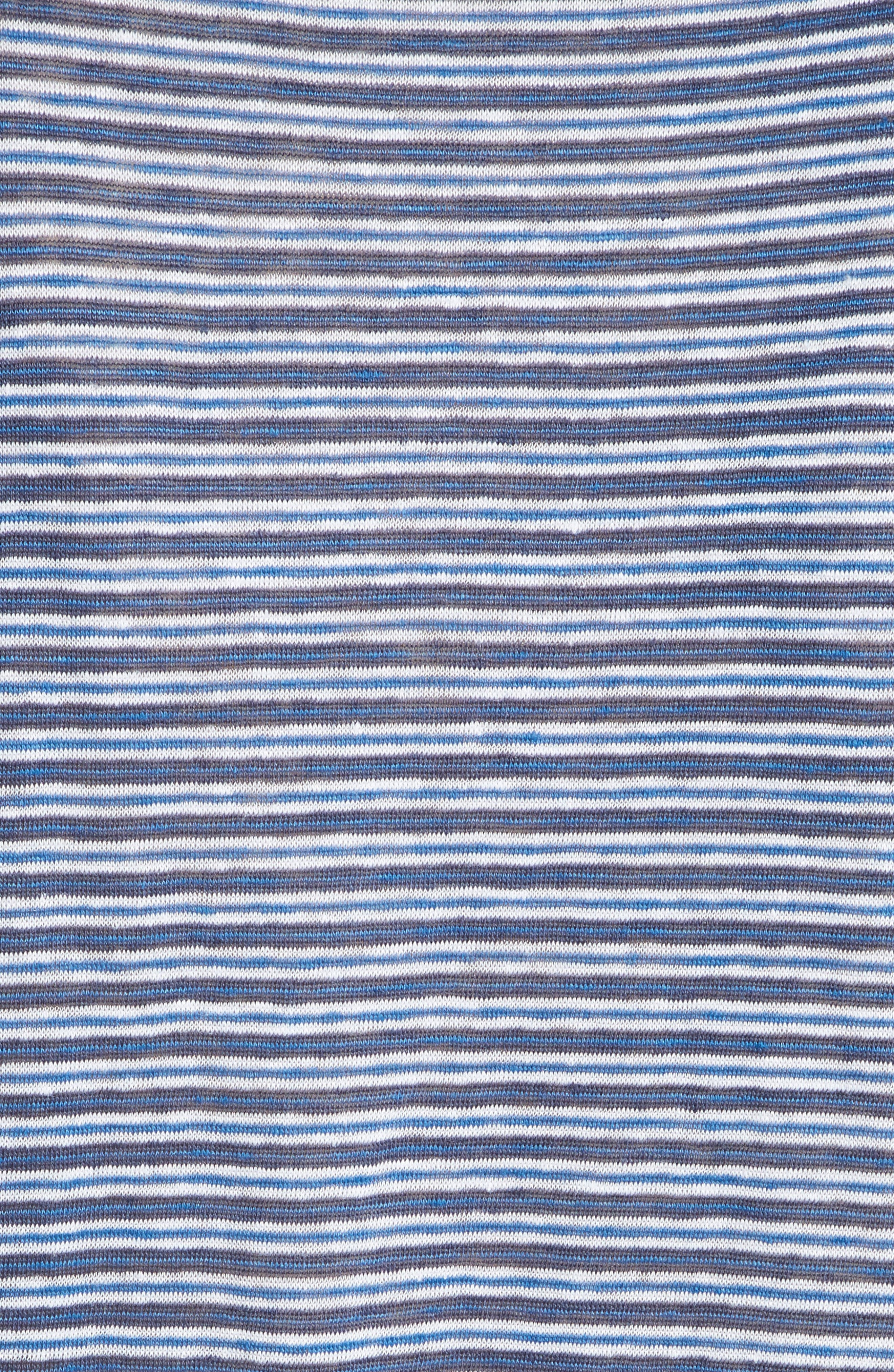 Neyo Stripe Linen Tee,                             Alternate thumbnail 5, color,                             Moroccan Blue