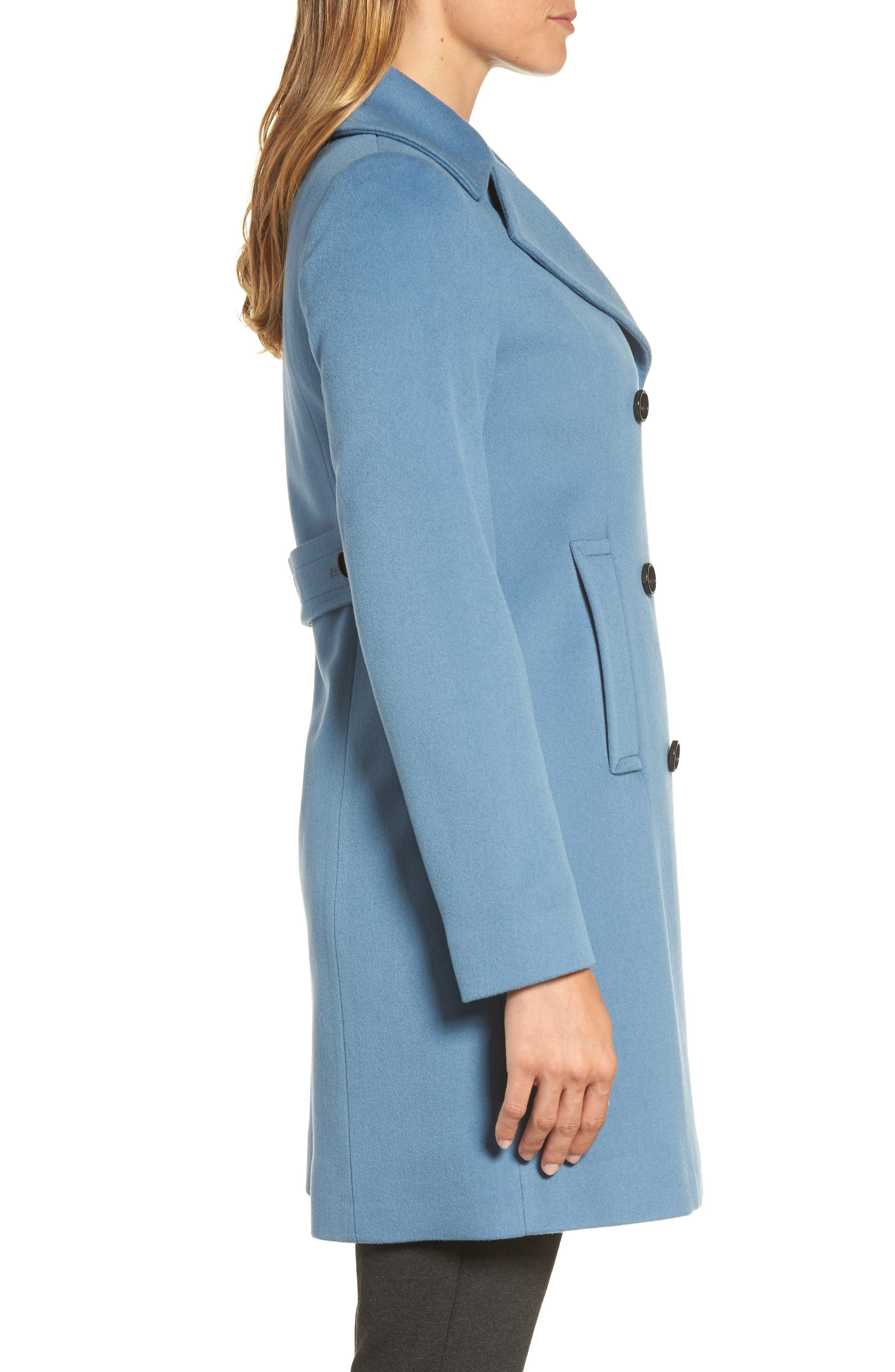 Double Breasted Loro Piana Wool Coat,                             Alternate thumbnail 3, color,                             Cornflower
