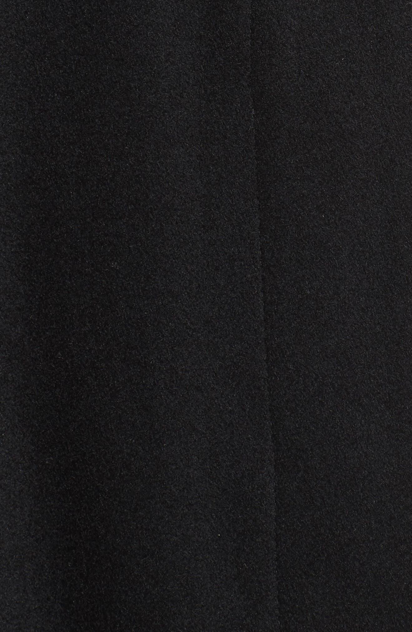 Full Length Wool Blend Coat,                             Alternate thumbnail 5, color,                             Black