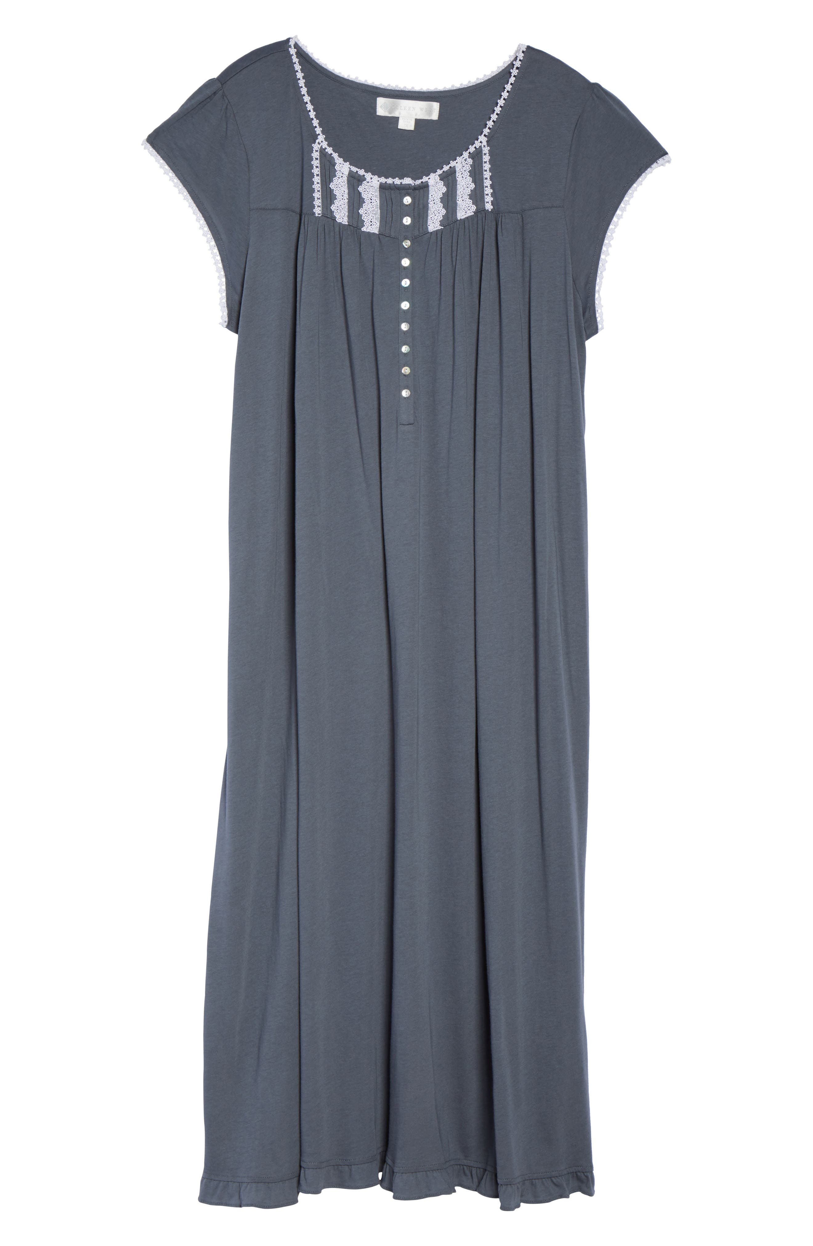Alternate Image 4  - Eileen West Cotton & Modal Long Nightgown (Plus Size)