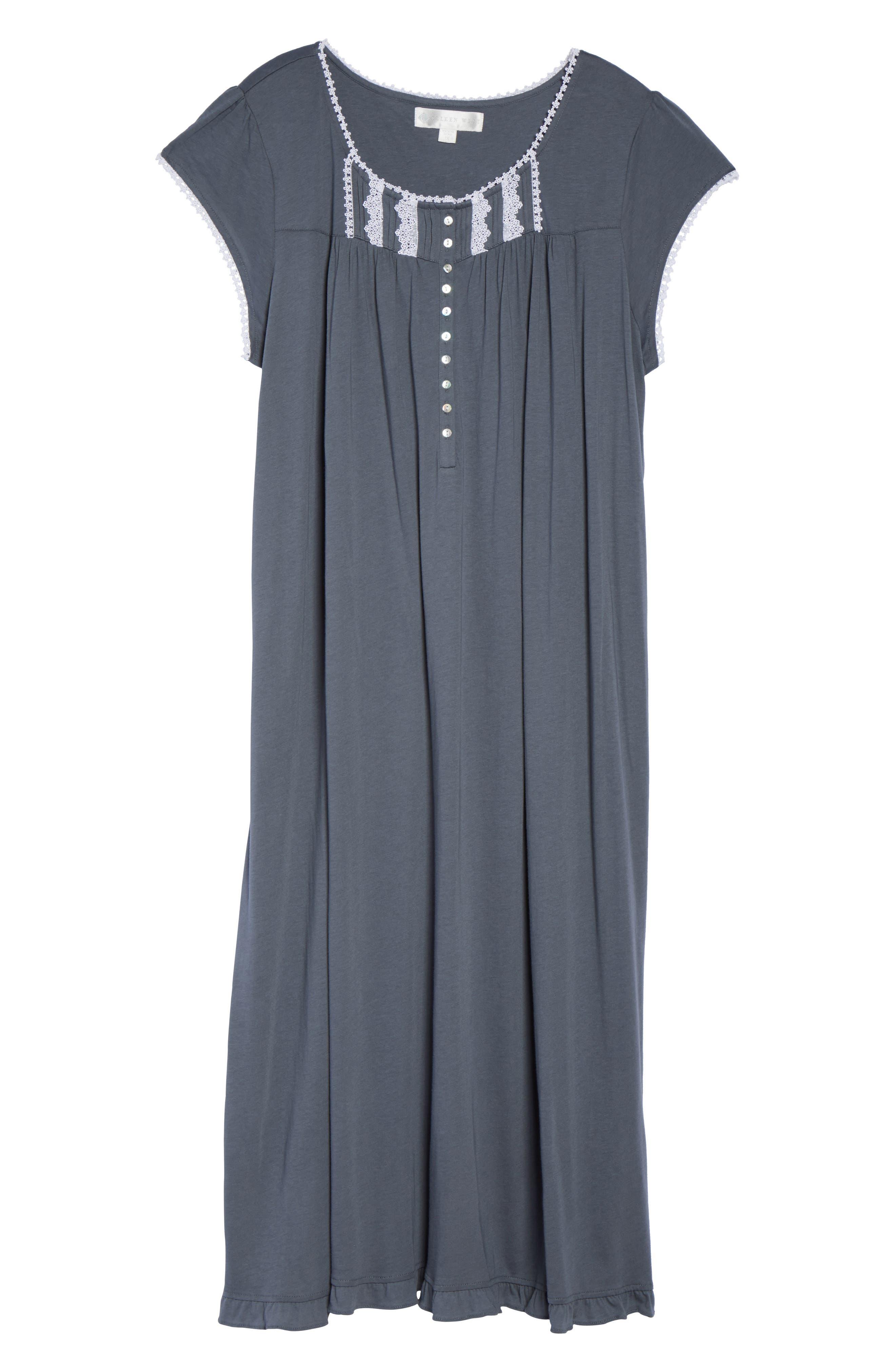 Cotton & Modal Long Nightgown,                             Alternate thumbnail 4, color,                             Grey