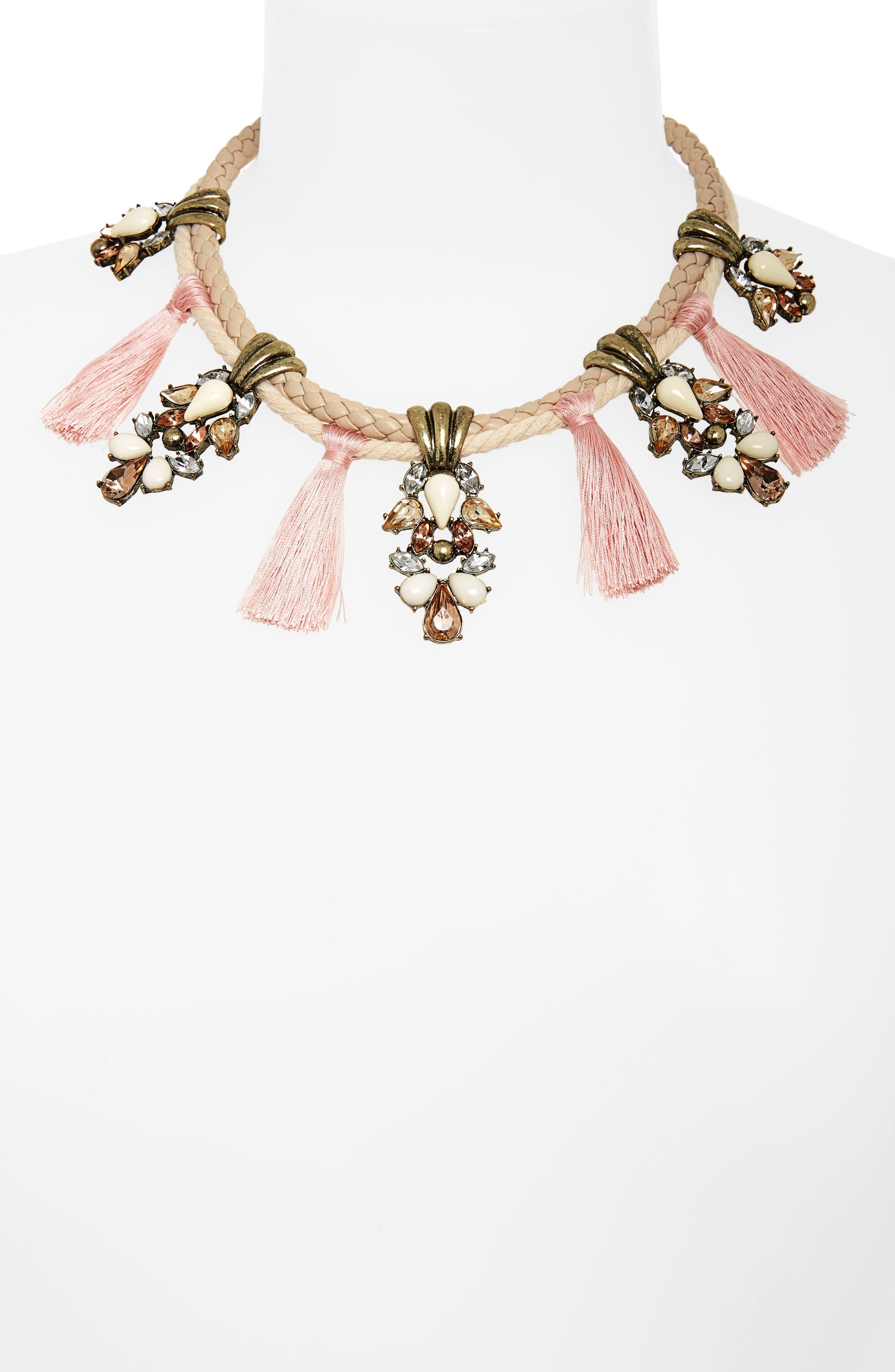 Repunzel Collar Necklace,                             Alternate thumbnail 2, color,                             Pink