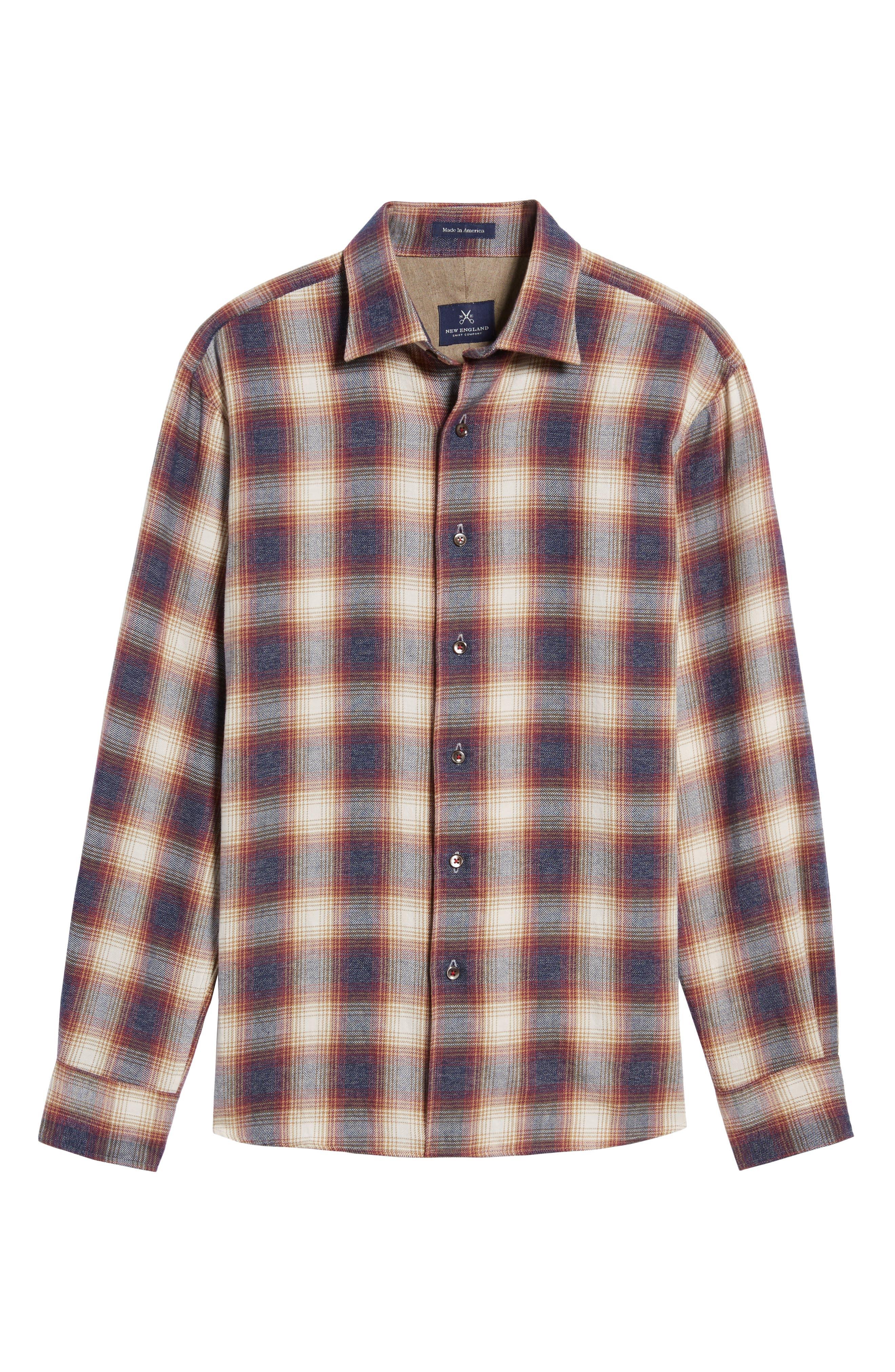 Slim Fit Plaid Sport Shirt,                             Alternate thumbnail 6, color,                             Burgundy