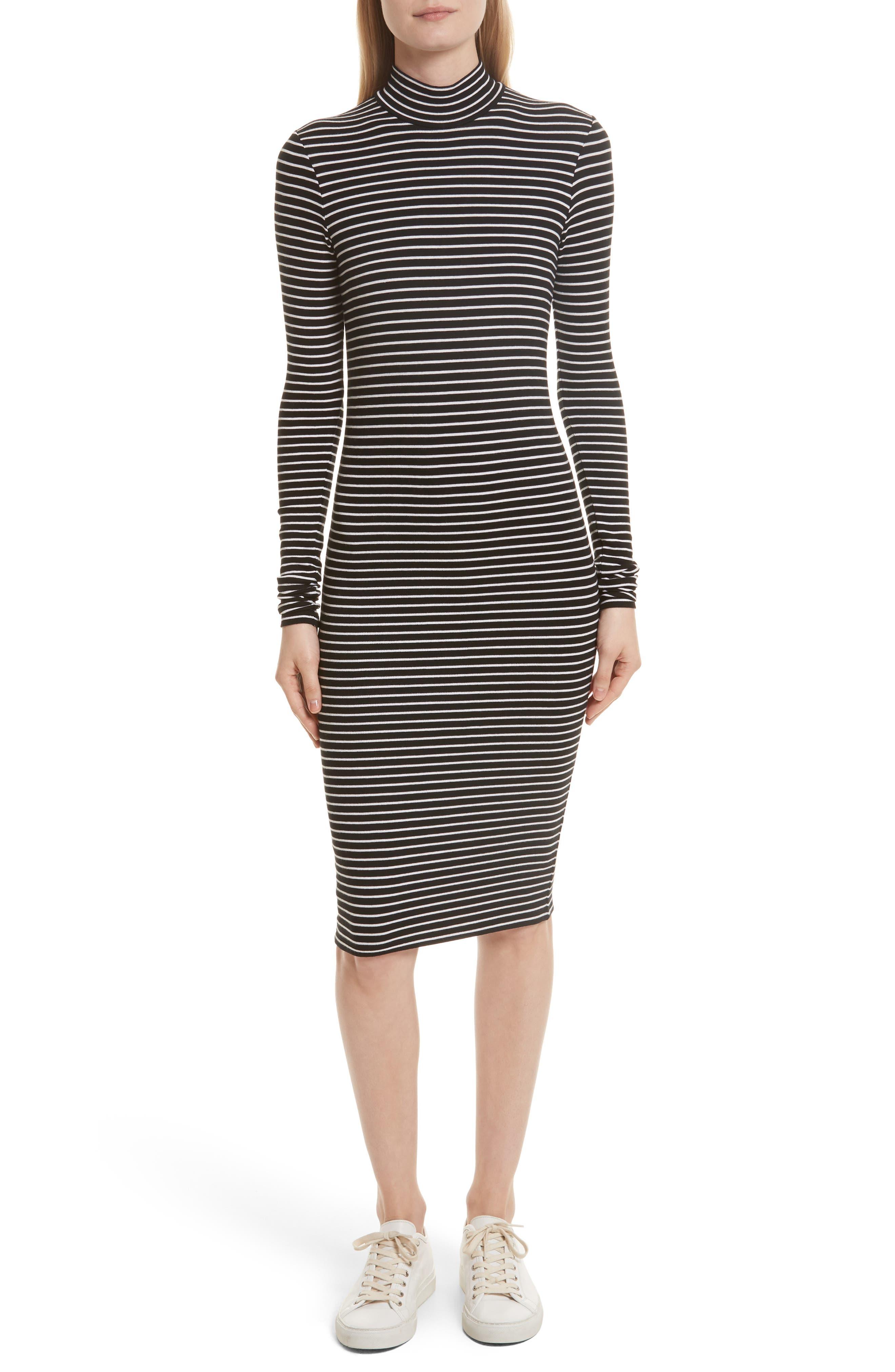 Stripe Rib Jersey Dress,                         Main,                         color, Black/ Whit